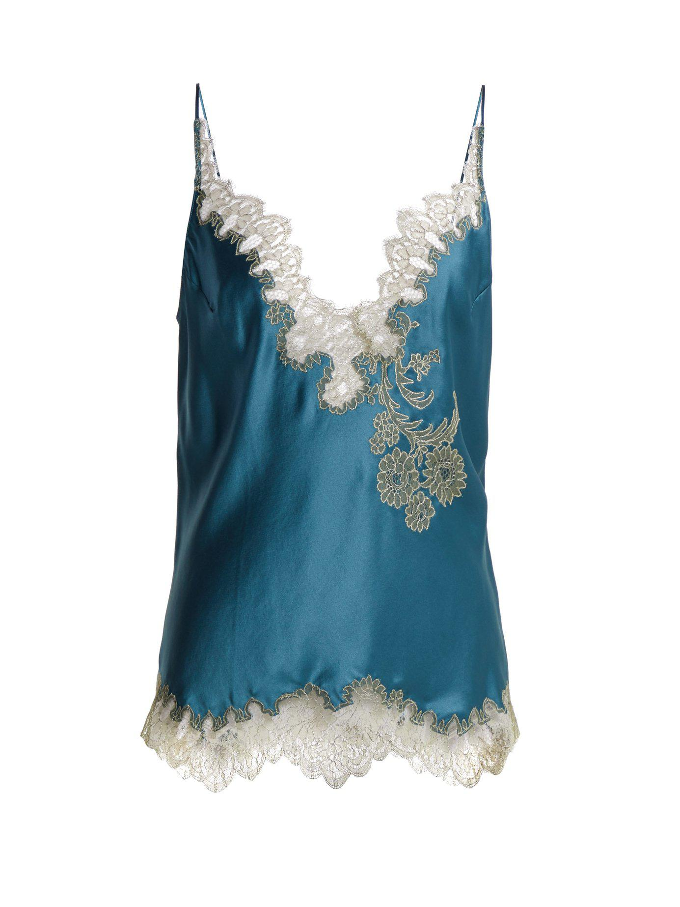 241ad35df788 Lyst - Carine Gilson Lace Trimmed Silk Satin Camisole in Blue