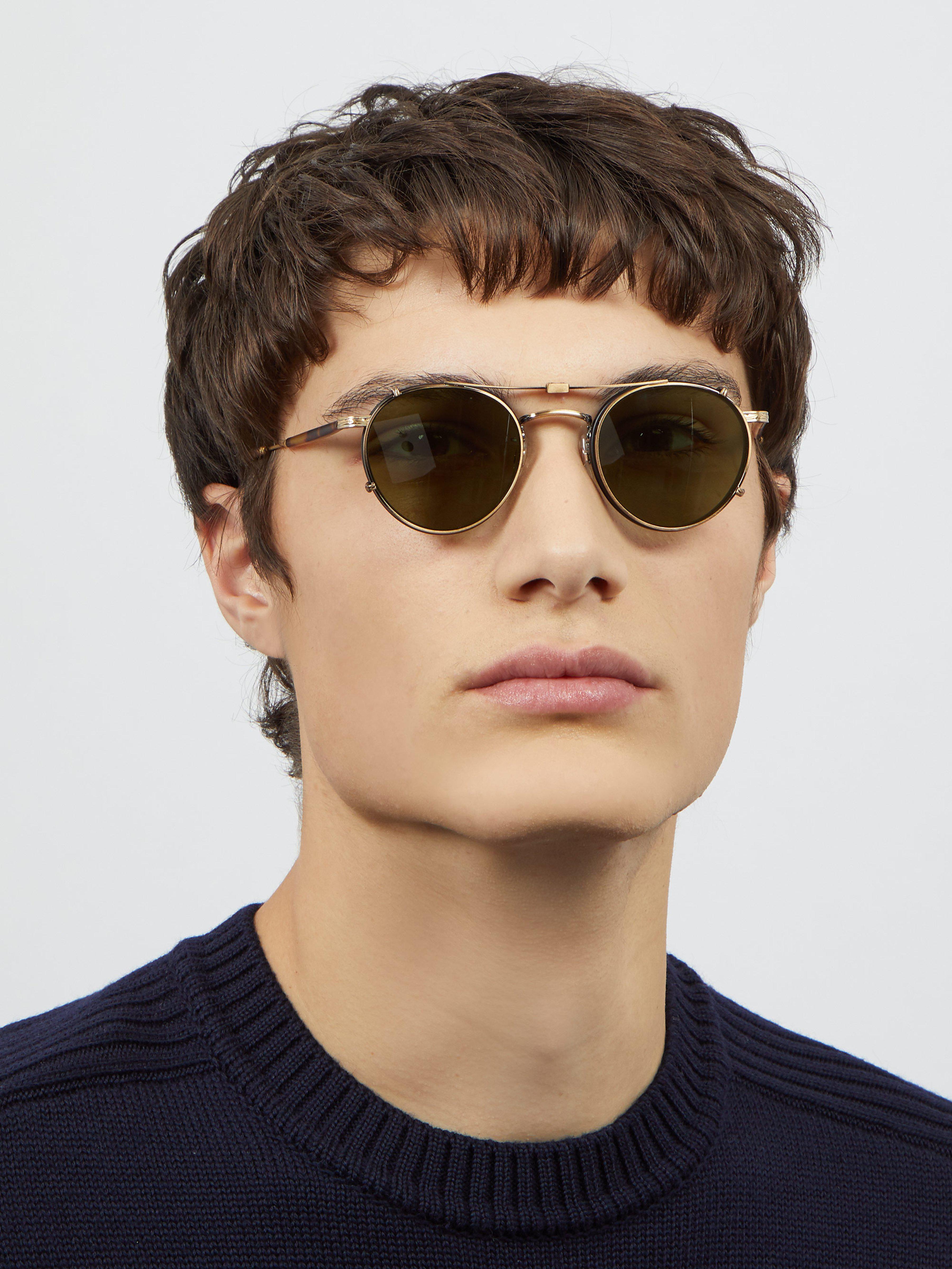 2034374c05 Garrett Leight Wilson 49 Round Frame Glasses in Brown for Men - Lyst