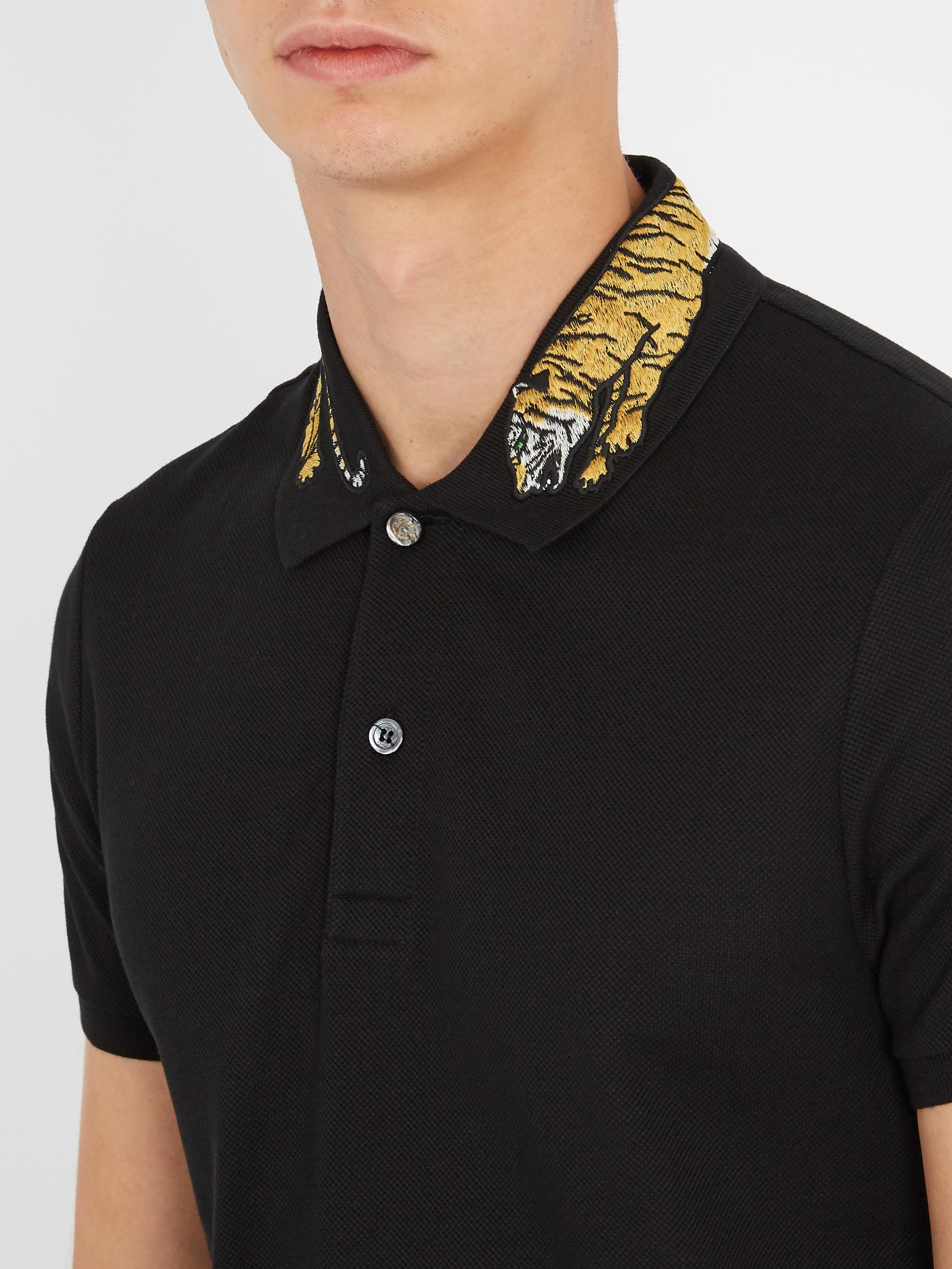 db1d272dc51 Lyst - Gucci Tiger-appliqué Cotton-blend Piqué Polo Shirt in Black ...