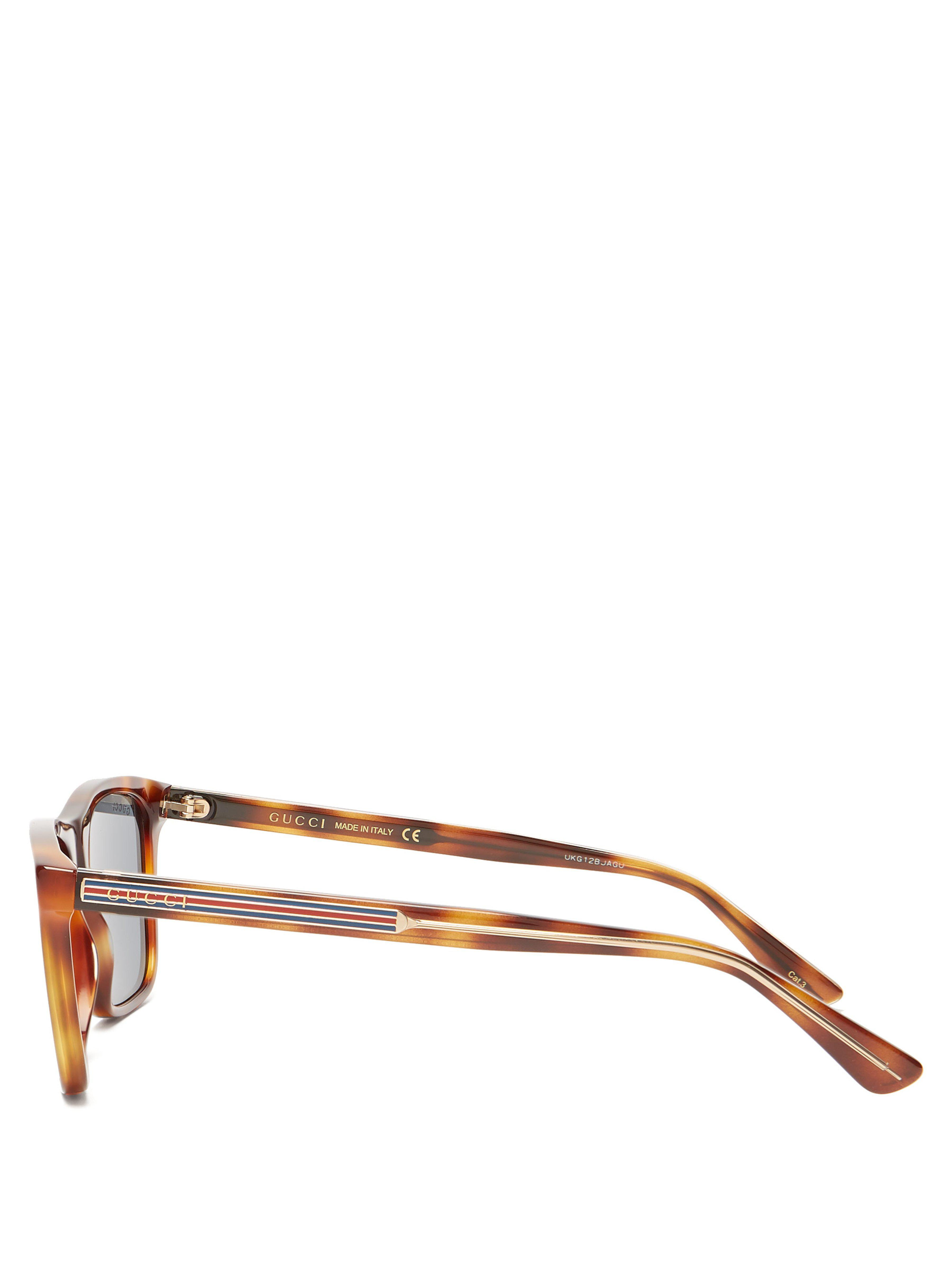 2a9daba447c90 Gucci - Brown Square Frame Acetate Sunglasses for Men - Lyst. View  fullscreen