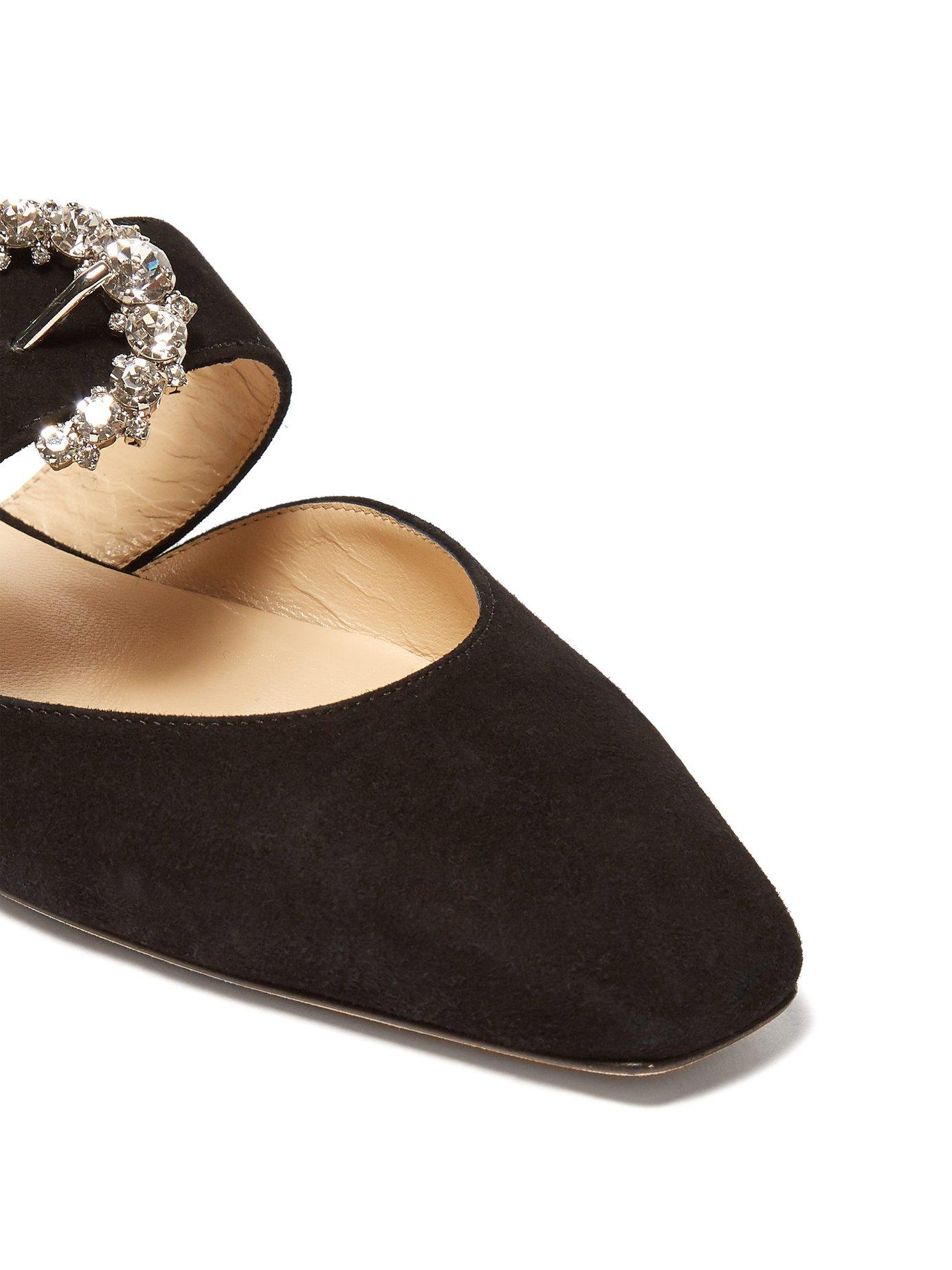 a5b0417a856 Lyst - Jimmy Choo Gee Crystal Buckle Suede Backless Loafers in Black