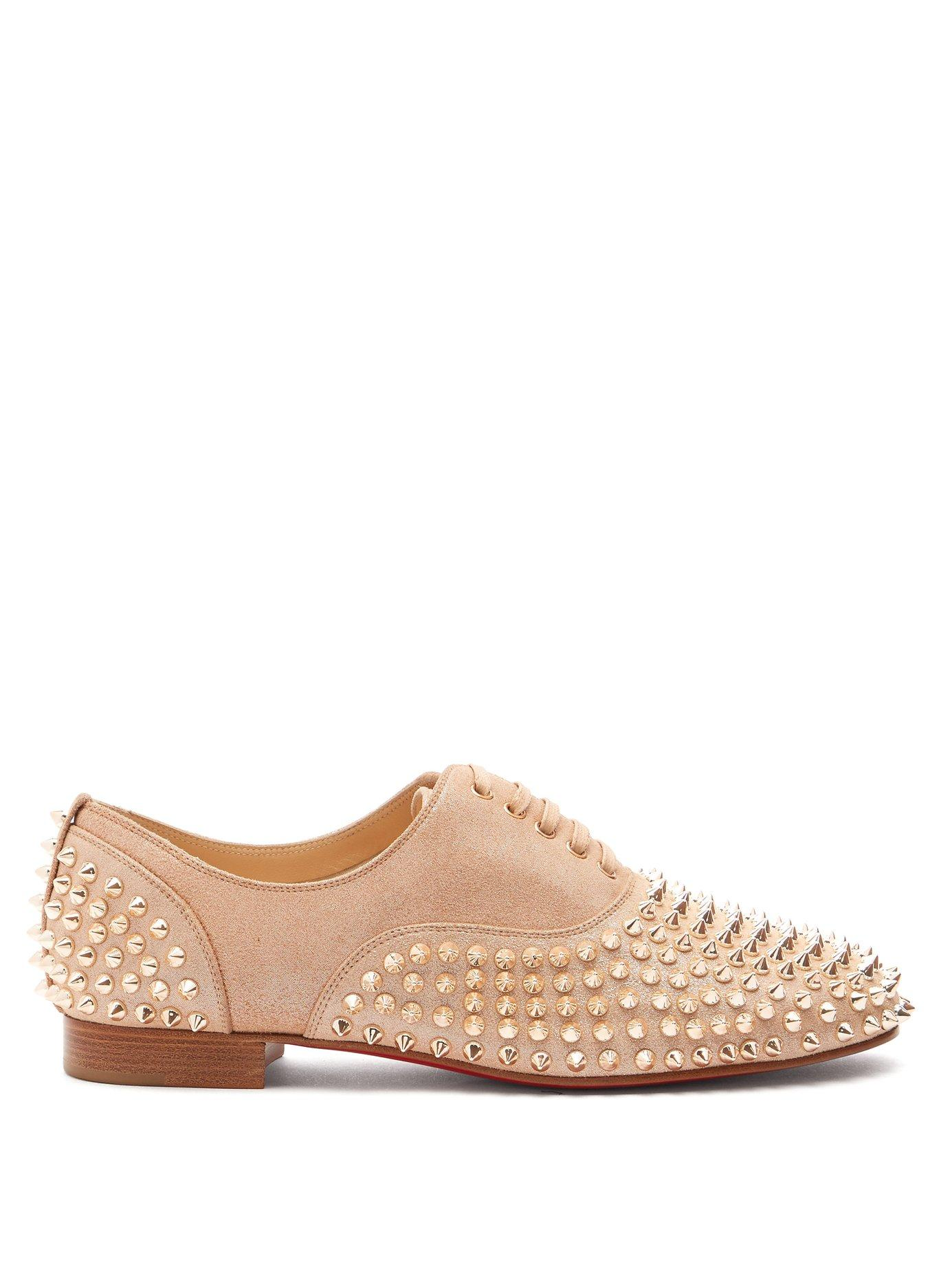 38411a990c7 Lyst - Christian Louboutin Freddy Studded Leather Derby Shoes