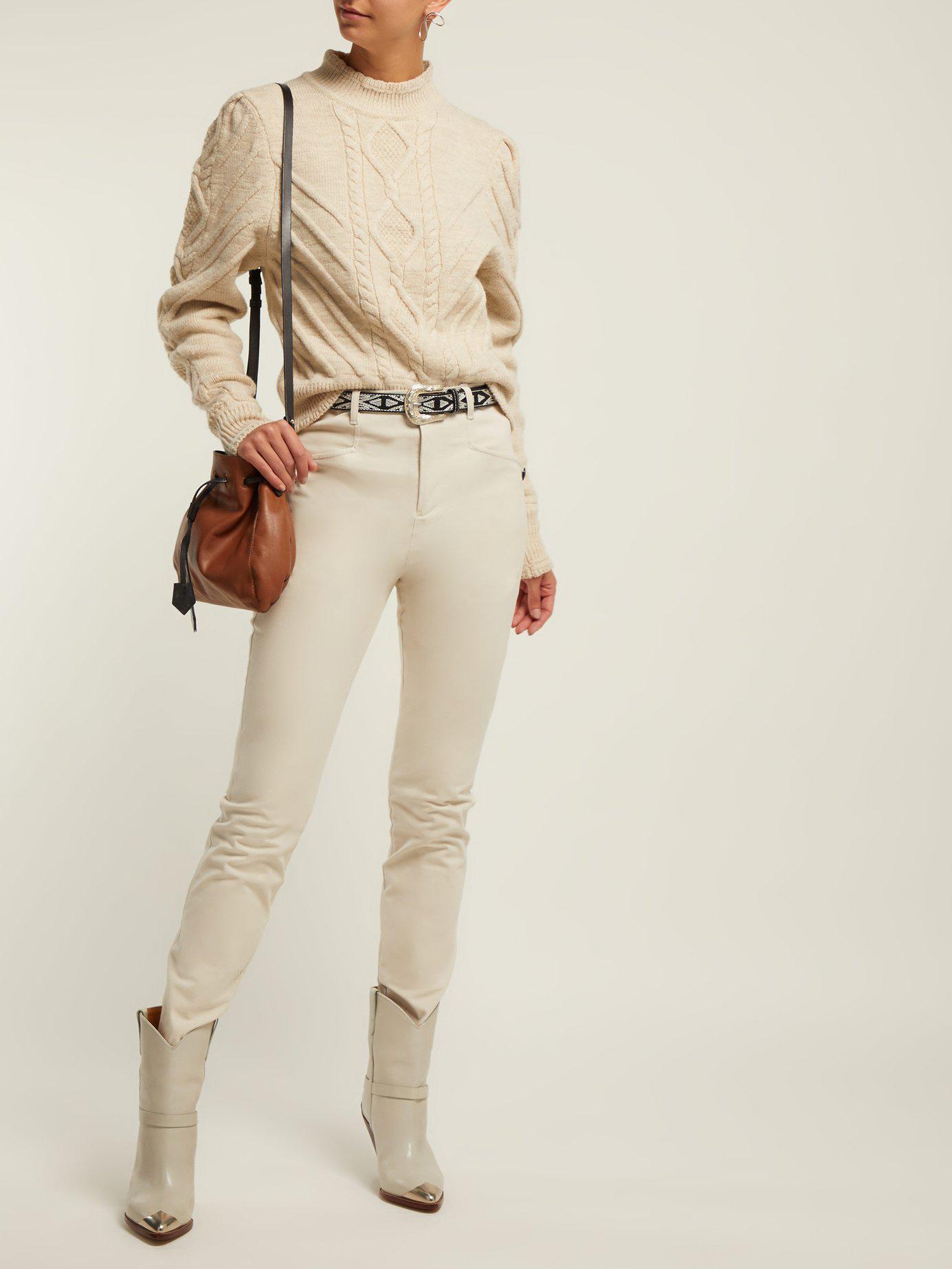 85d2aeea55 Lyst - Isabel Marant Brantley Aran Knit Wool Blend Sweater in White