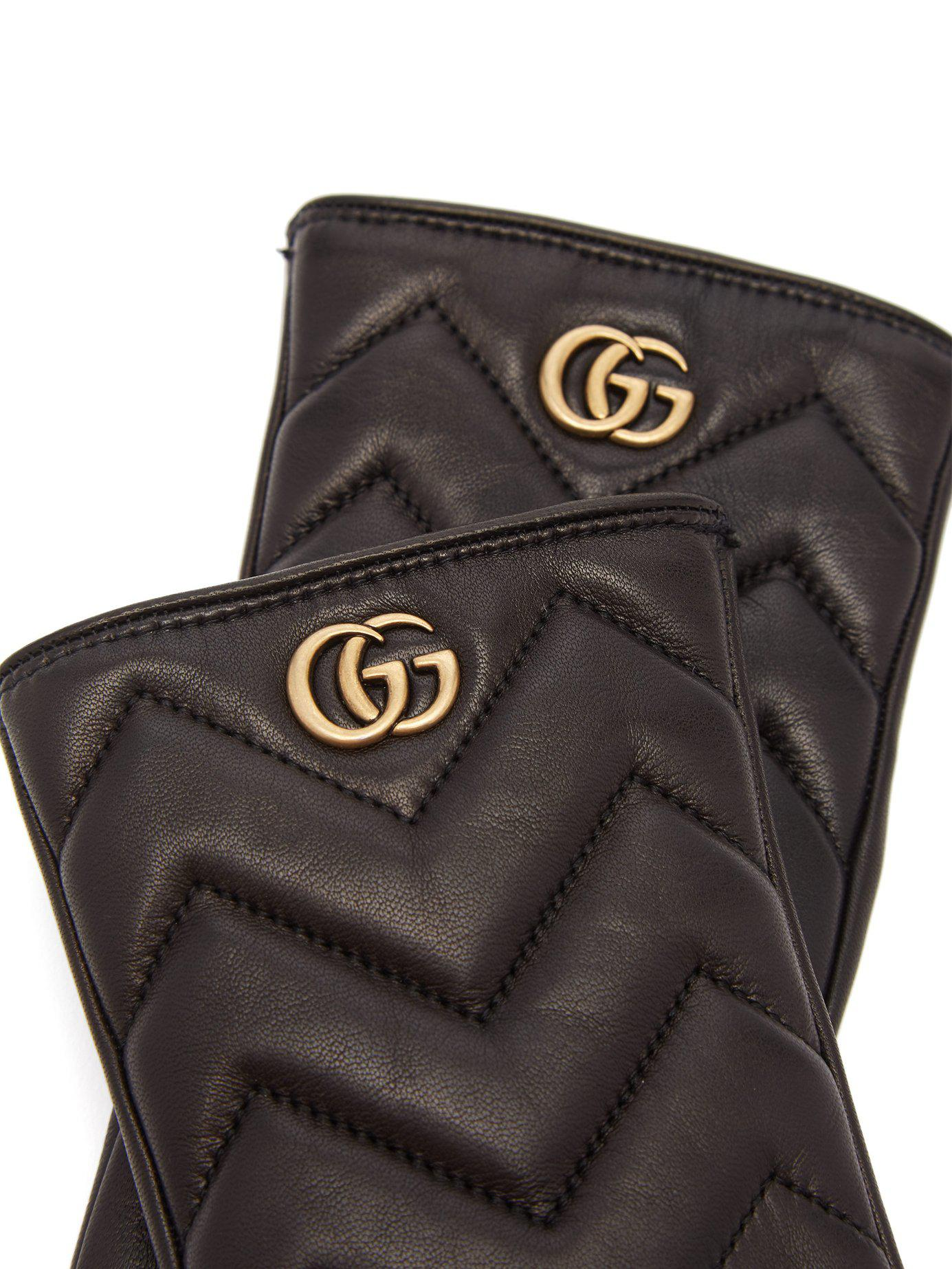 e5b6eae1994 Gucci - Black Gg Marmont Chevron Quilted Leather Gloves - Lyst. View  fullscreen