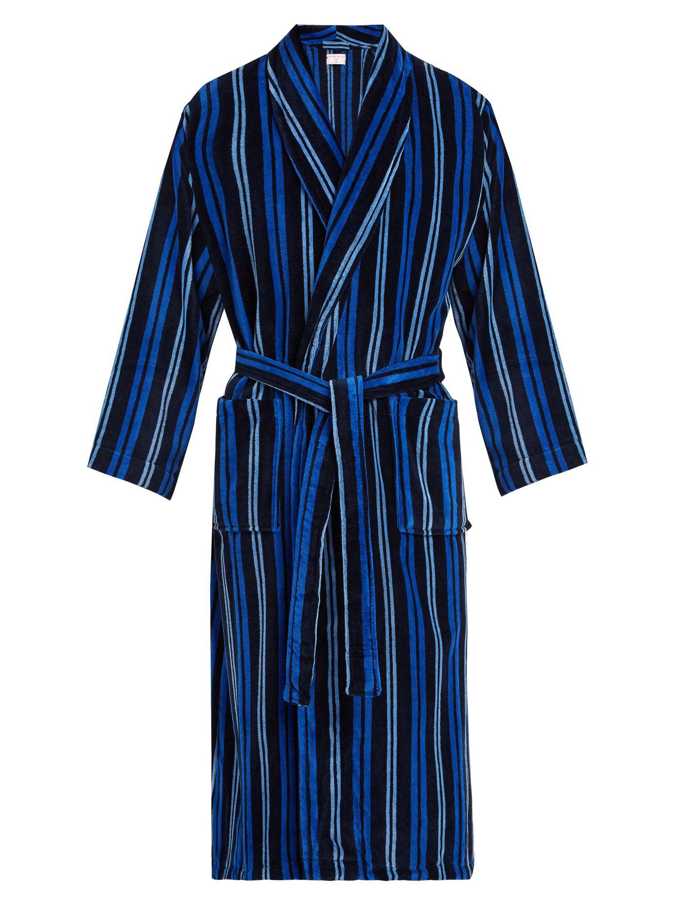 190d6371a3 Lyst - Derek Rose Aston Striped Cotton Robe in Blue for Men