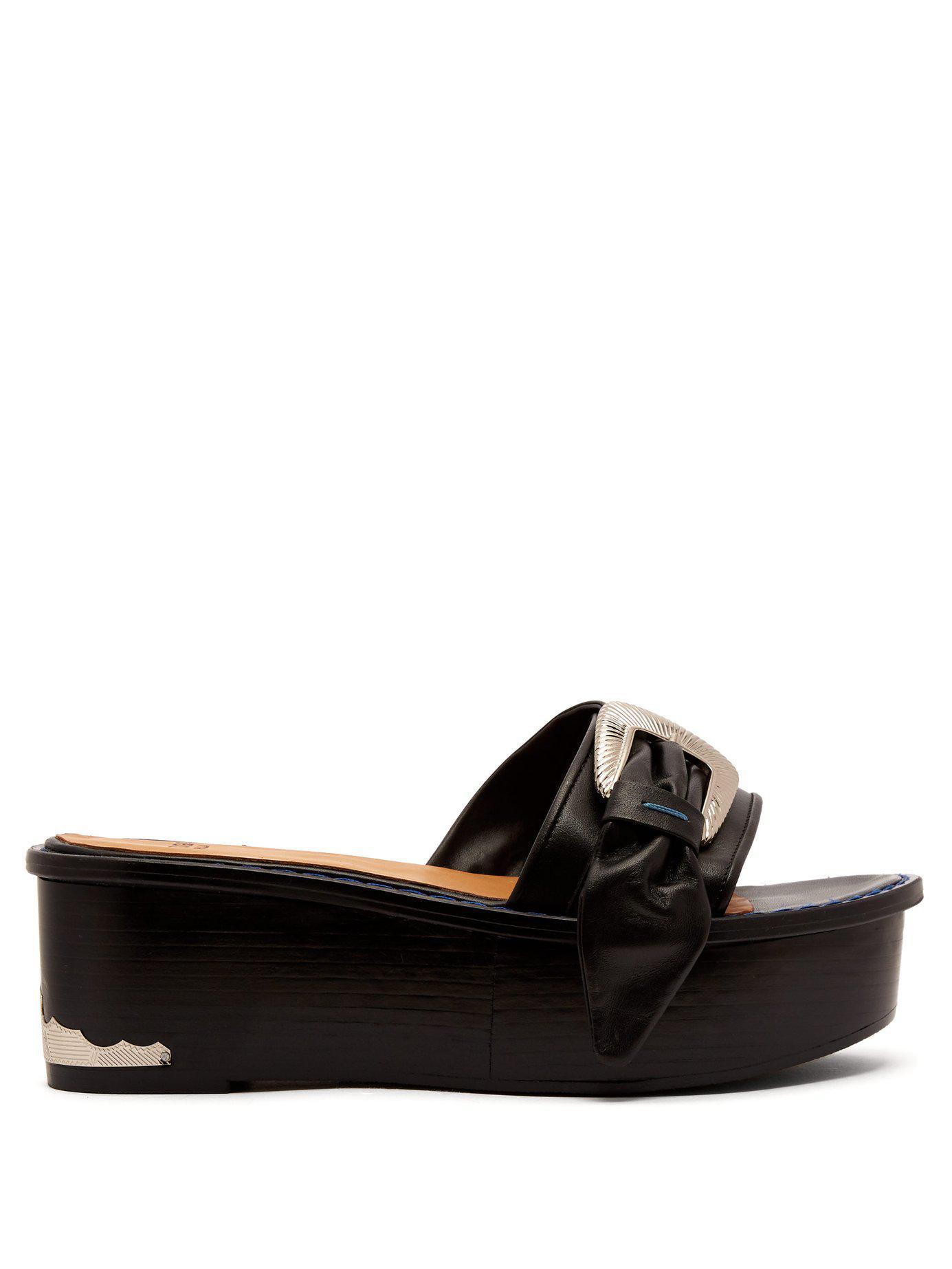 c4d002b69b6 Lyst - Toga Flatform Leather Sandals in Black