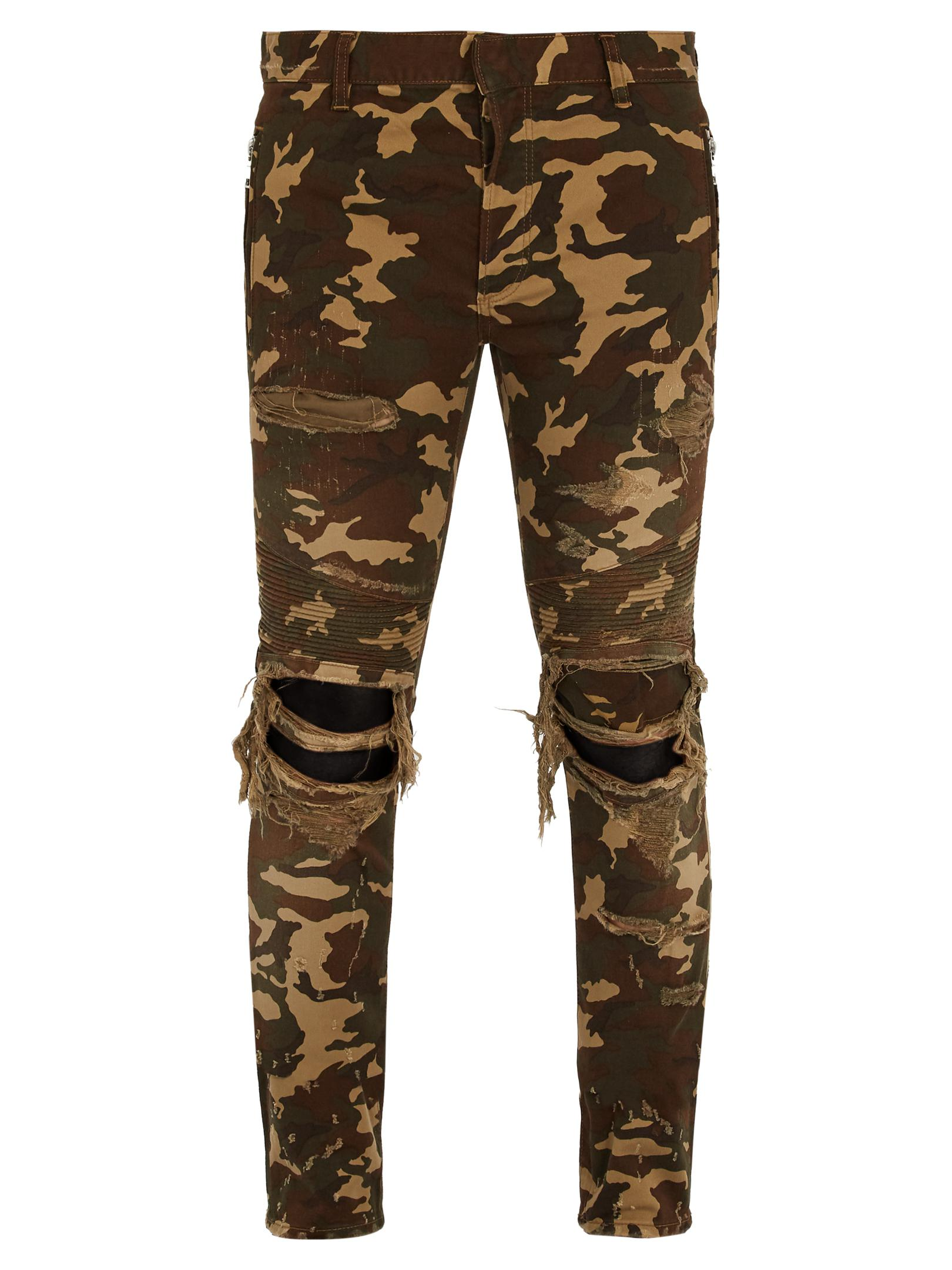 3aa0a444 Balmain Distressed Camouflage-print Skinny Biker Jeans in Green for ...