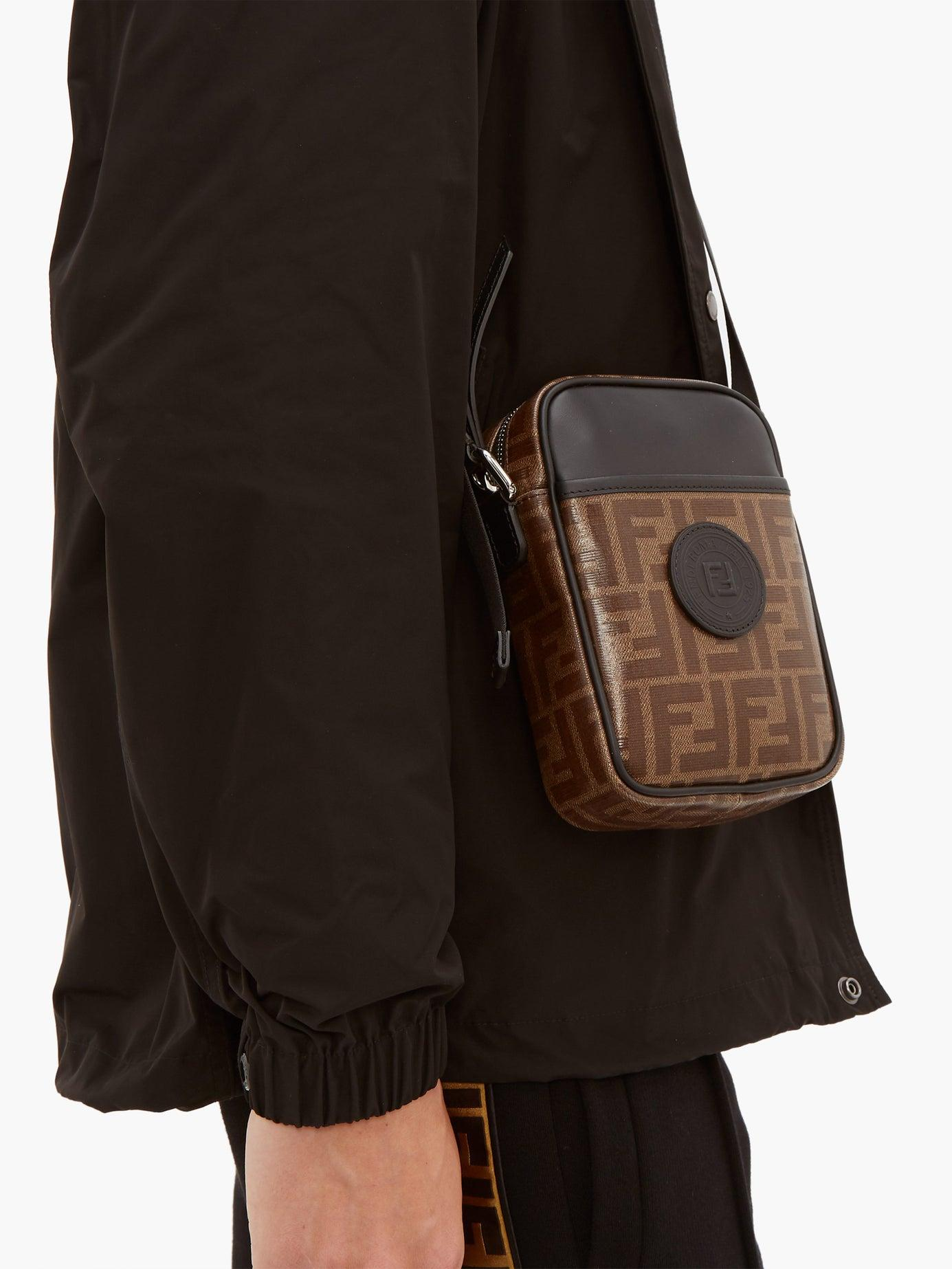 4b42d987a77 Fendi Ff Cross Body Leather And Canvas Camera Bag in Brown for Men ...