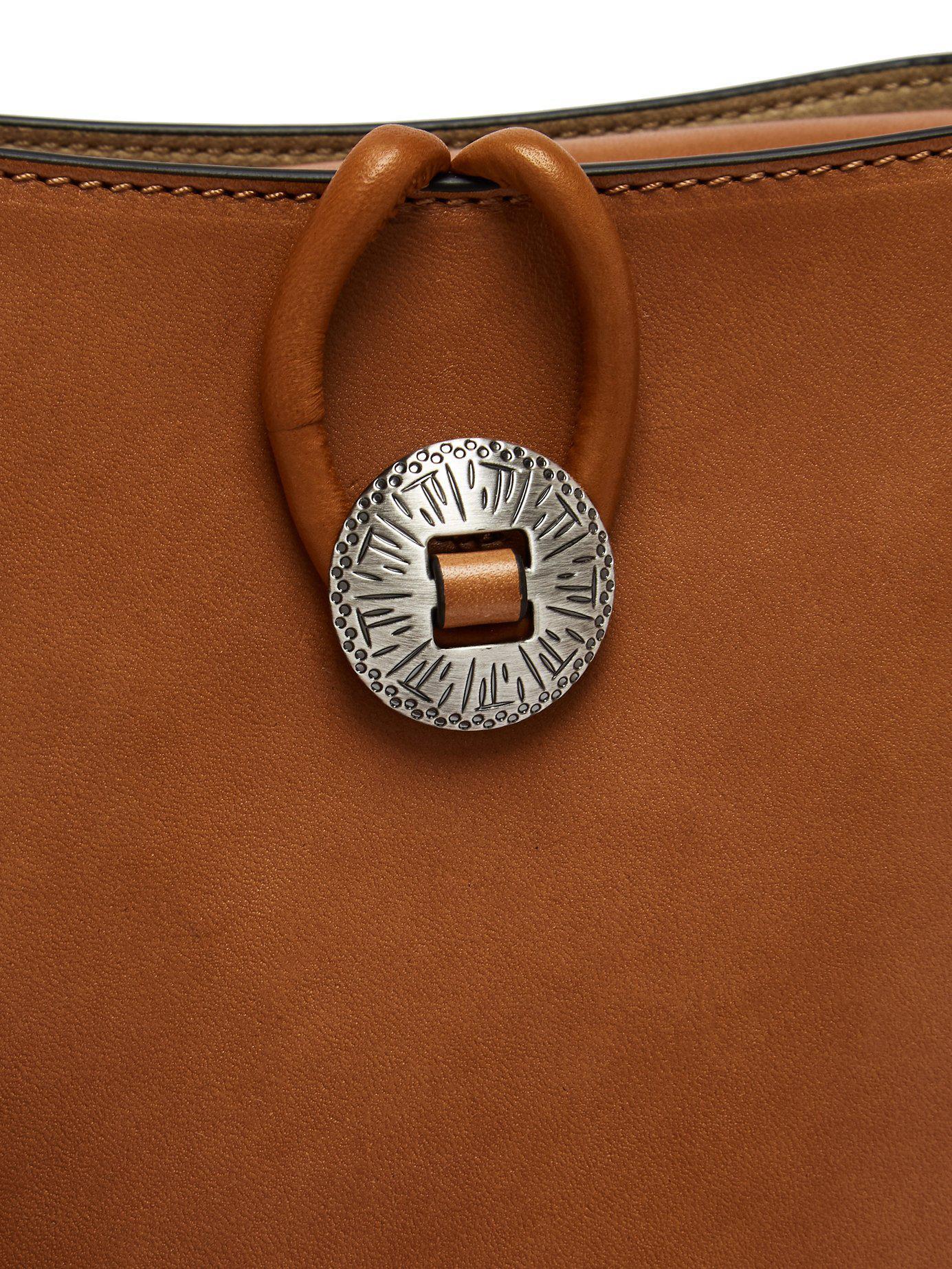 263842f1192 Isabel Marant Oskan Stud Embellished Leather Shoulder Bag in Brown ...