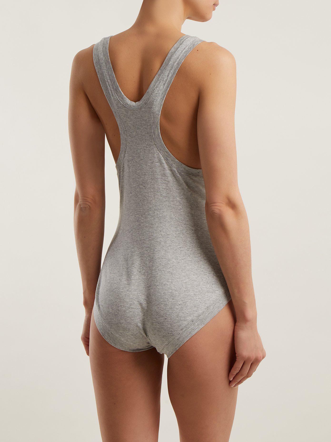 Racer-back cotton bodysuit Norma Kamali Clearance Discounts GJPFb