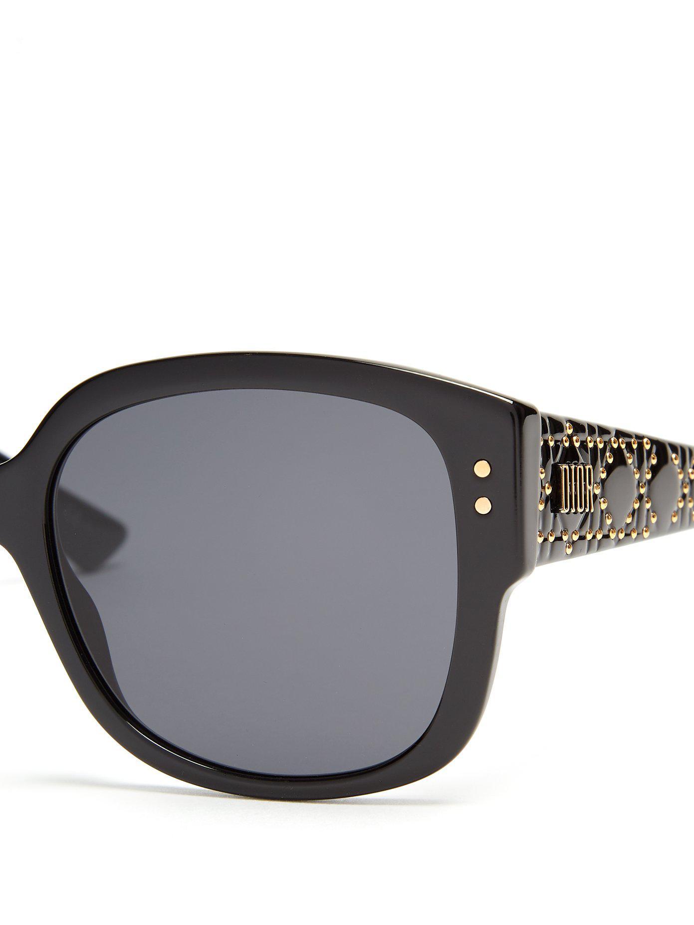 86cd54e449 Lunettes de soleil en acétate Lady DiorStuds Dior en coloris Noir - Lyst