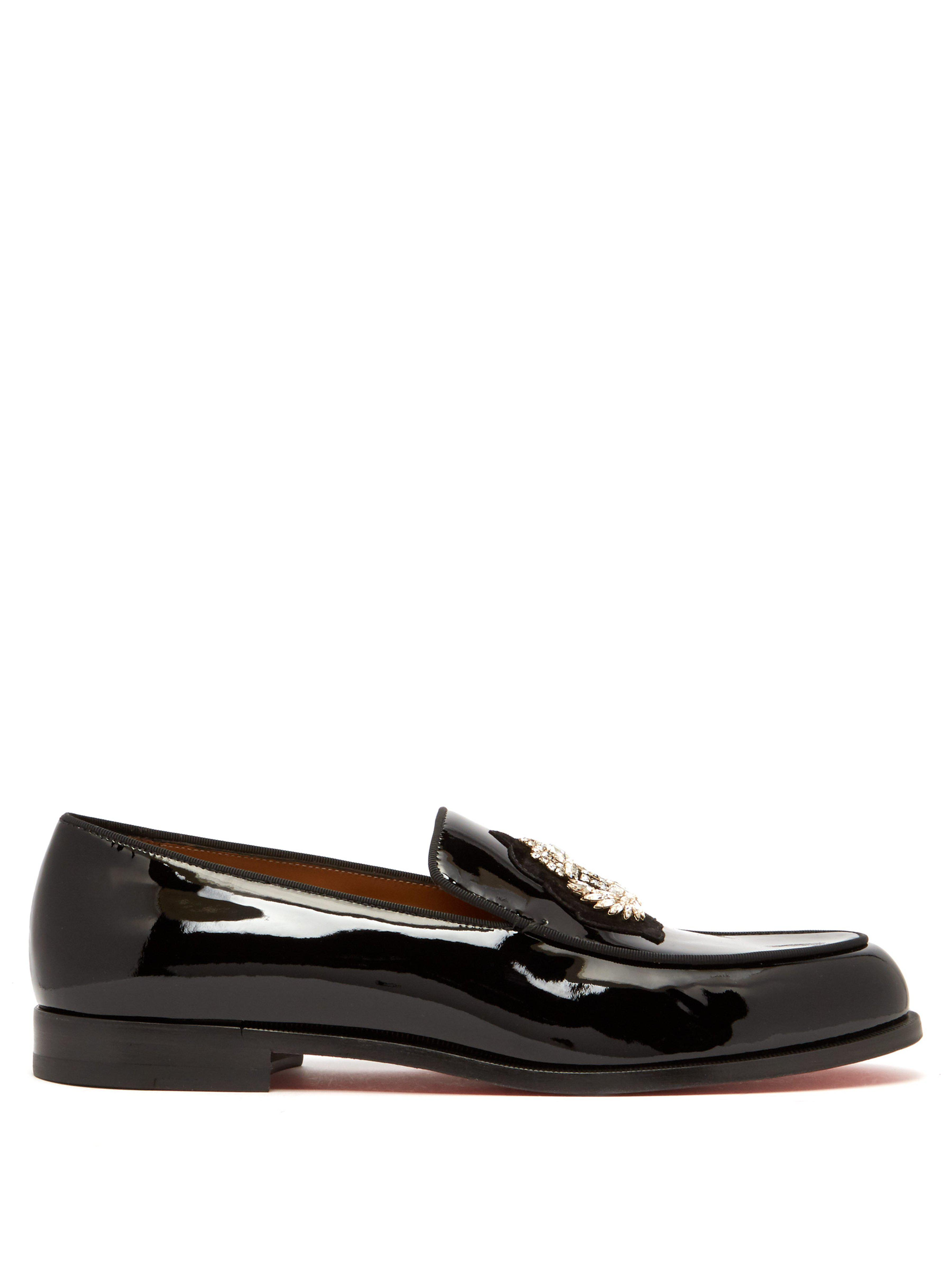 62660eeac8fb Christian Louboutin. Men s Black Laperouse Crystal Embellished Patent  Loafers