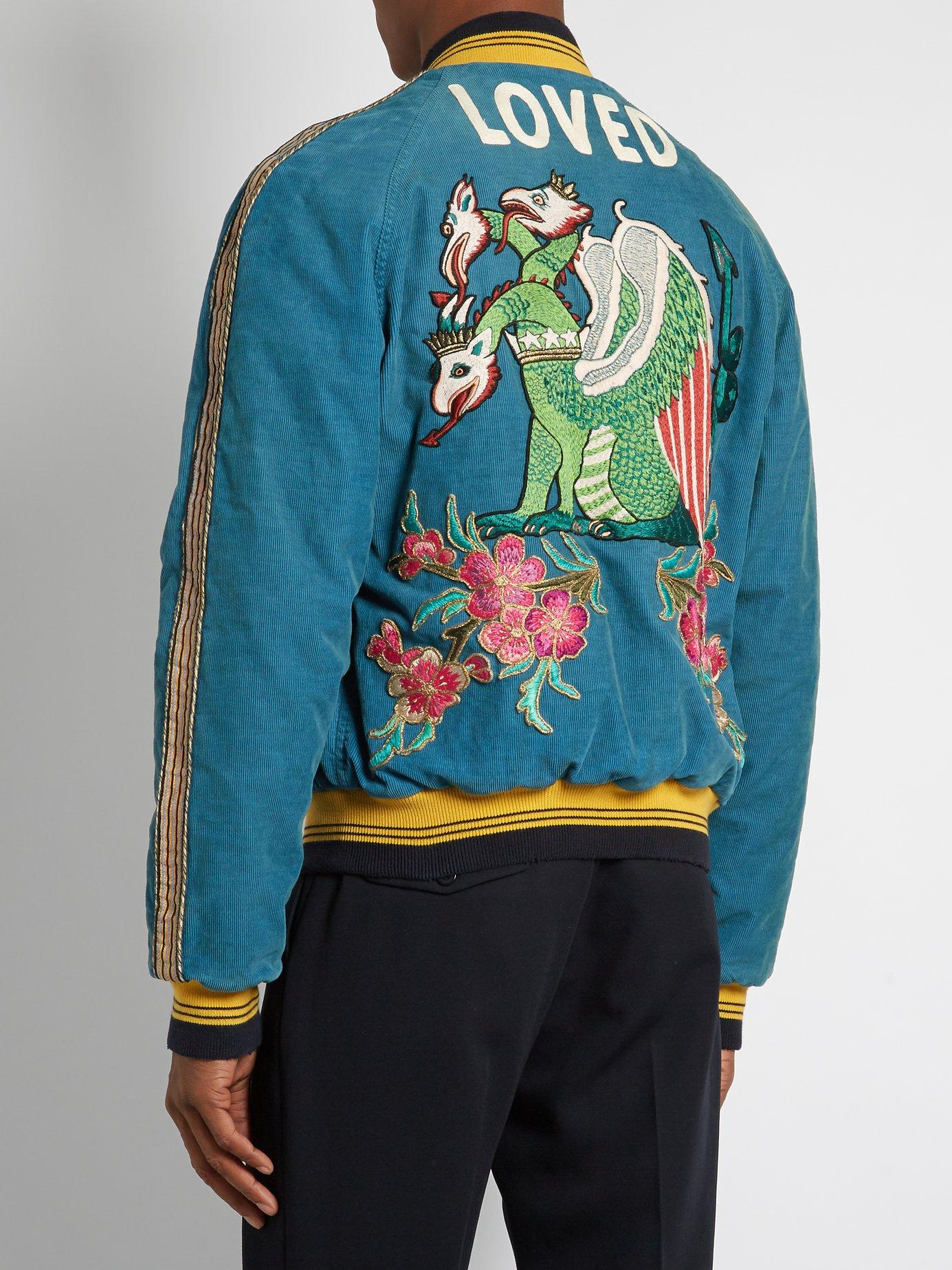 7d34ce41 Gucci - Blue Dragon Embroidered Corduroy Bomber Jacket for Men - Lyst. View  fullscreen