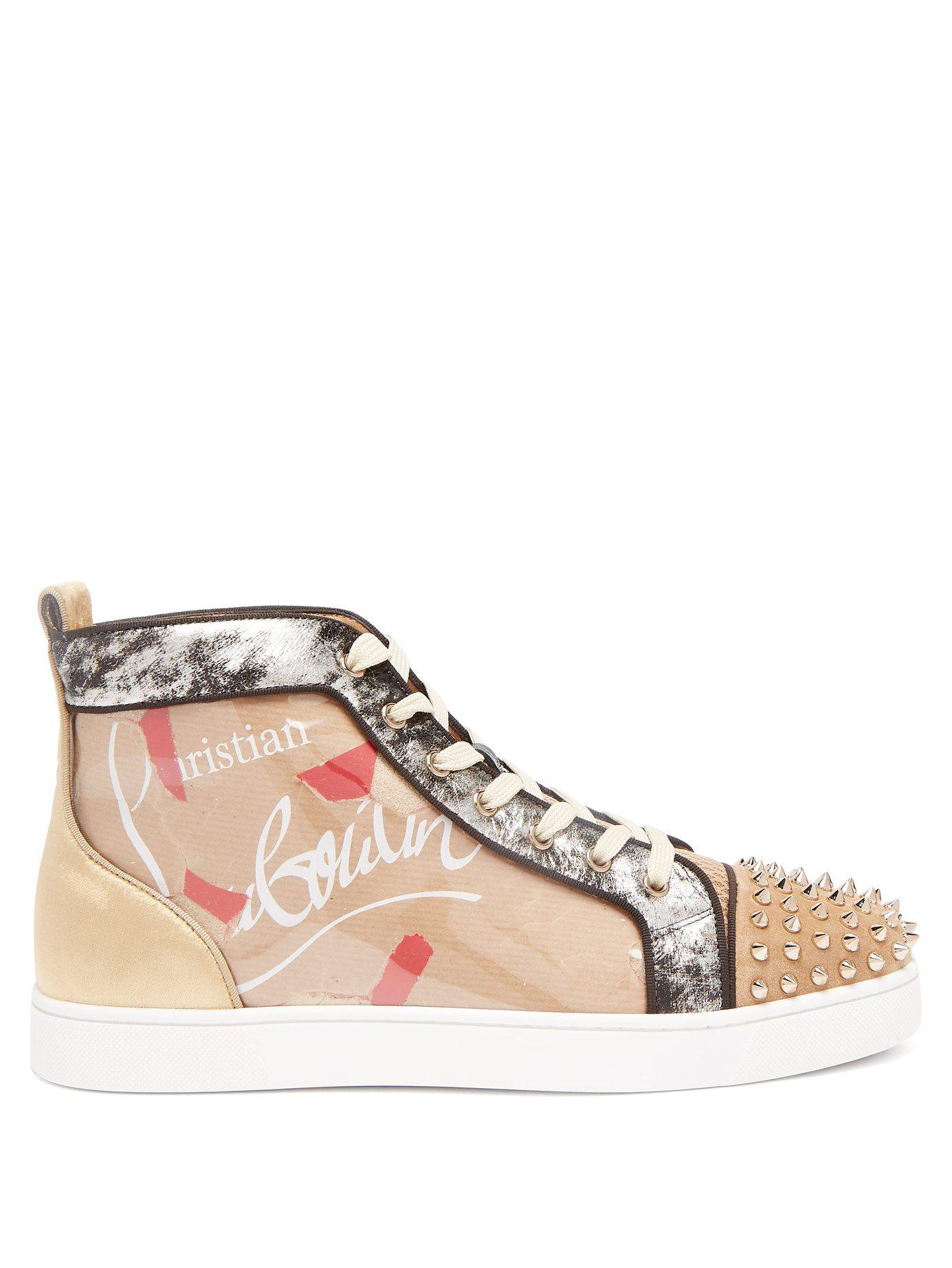 74629bc6945e Christian Louboutin. Men s Louis Spike Embellished Kraft High Top Trainers