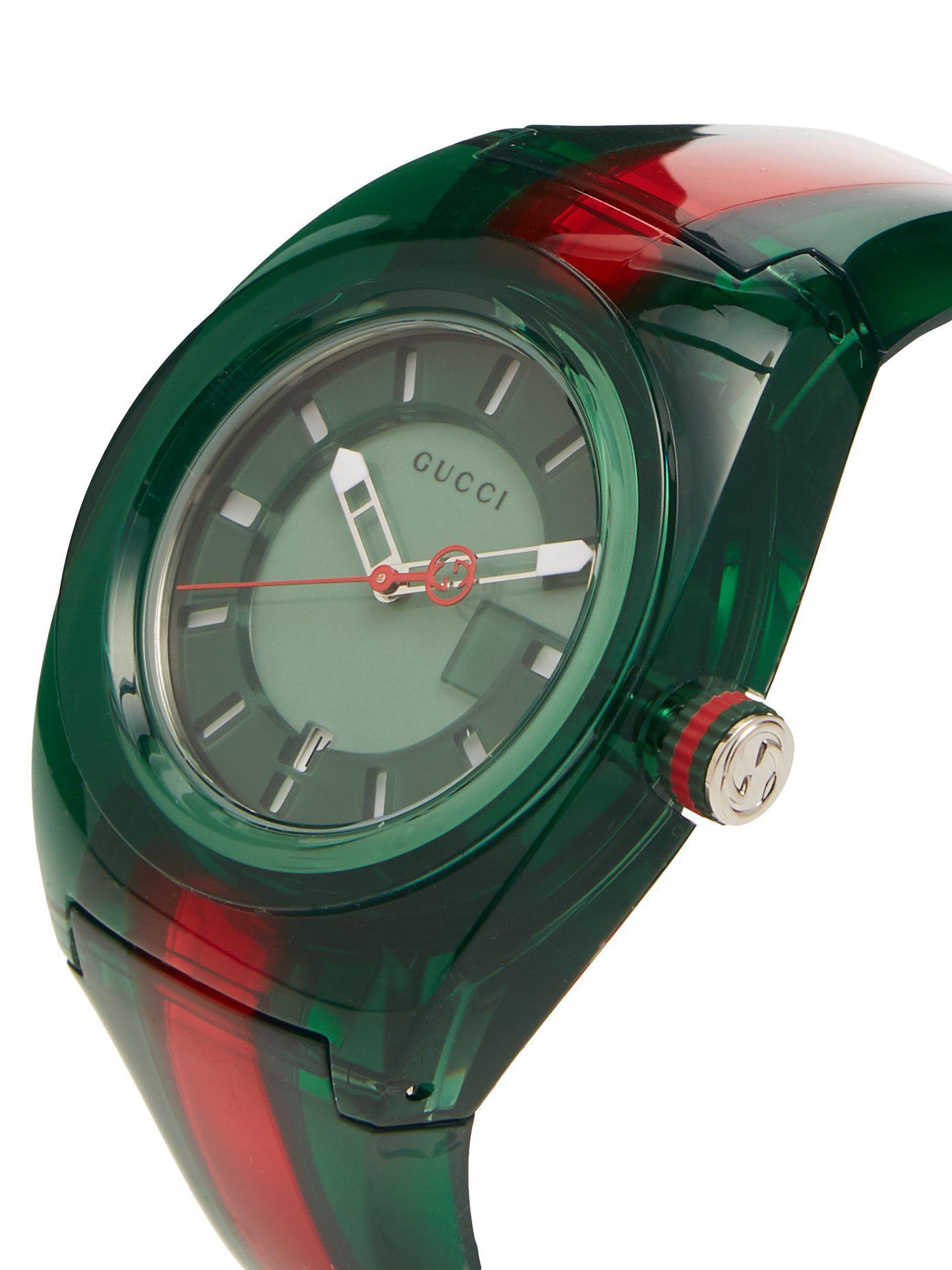 77e124ae641 Gucci - Green Sync Web Striped Watch for Men - Lyst. View fullscreen