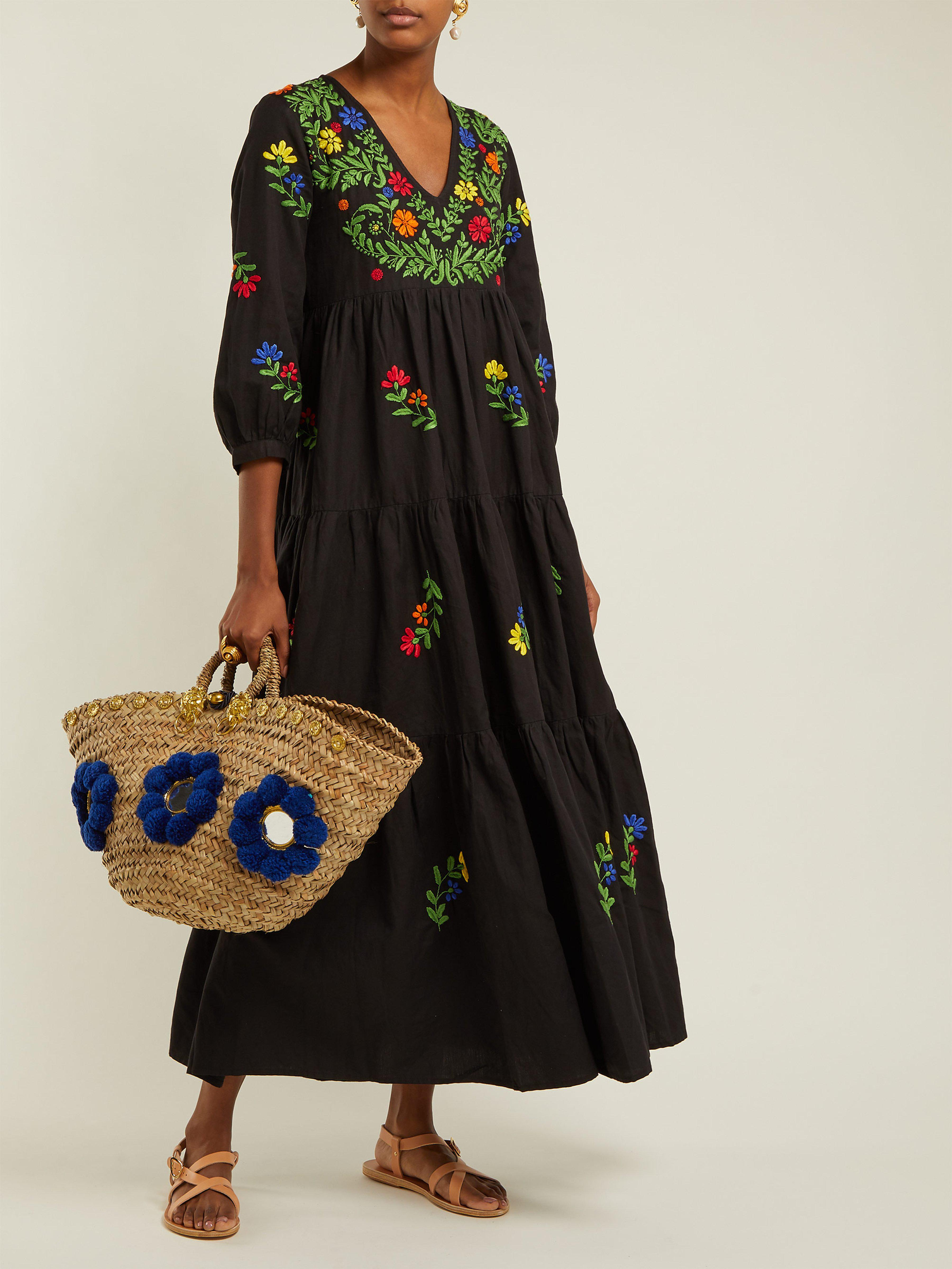 6e5f6c114f3 Muzungu Sisters Frangipani Embroidered Cotton Dress in Black - Lyst