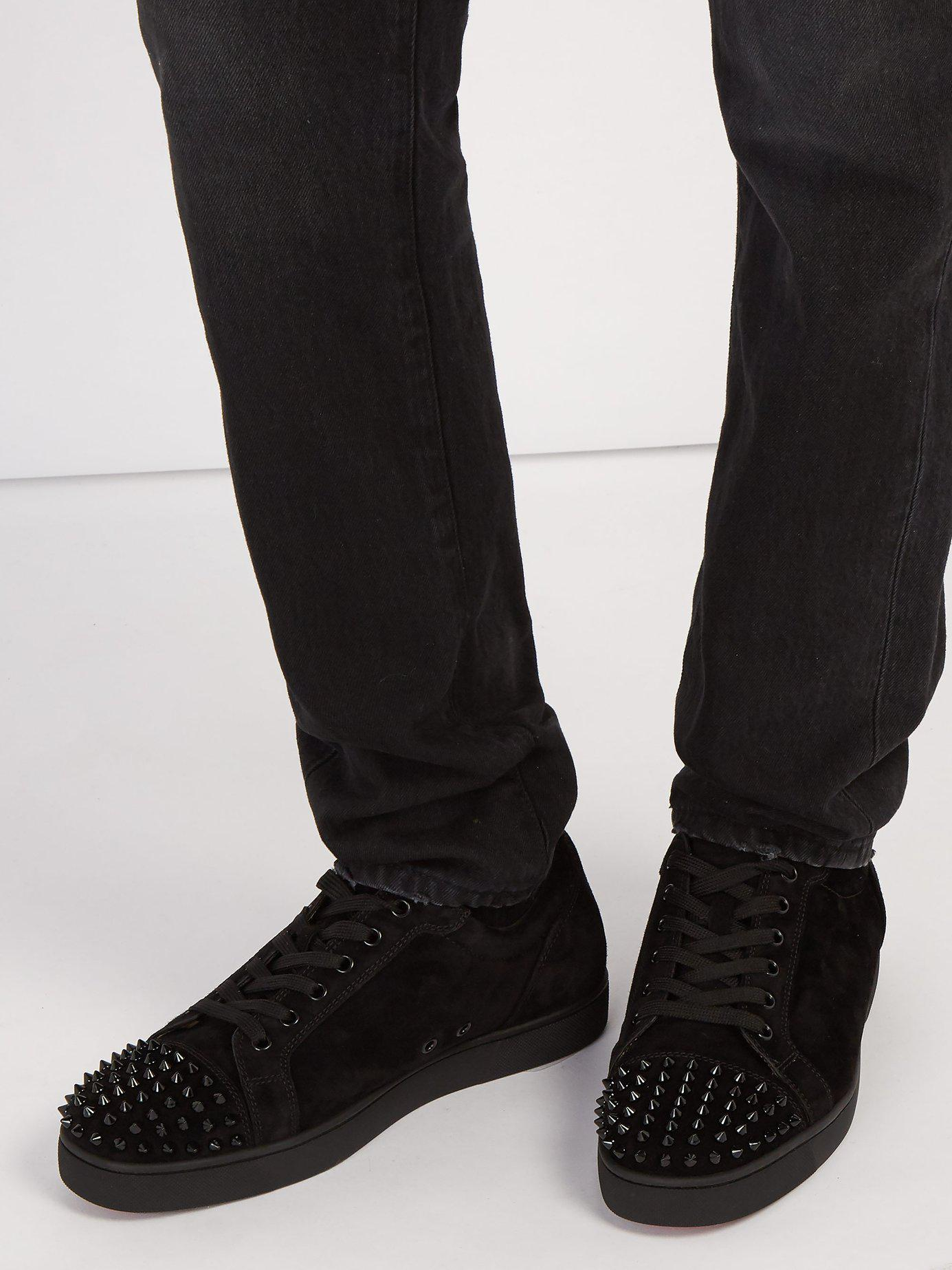 e3727467ef2 Lyst - Christian Louboutin Louis Junior Spike Embellished Leather Trainers  in Black for Men