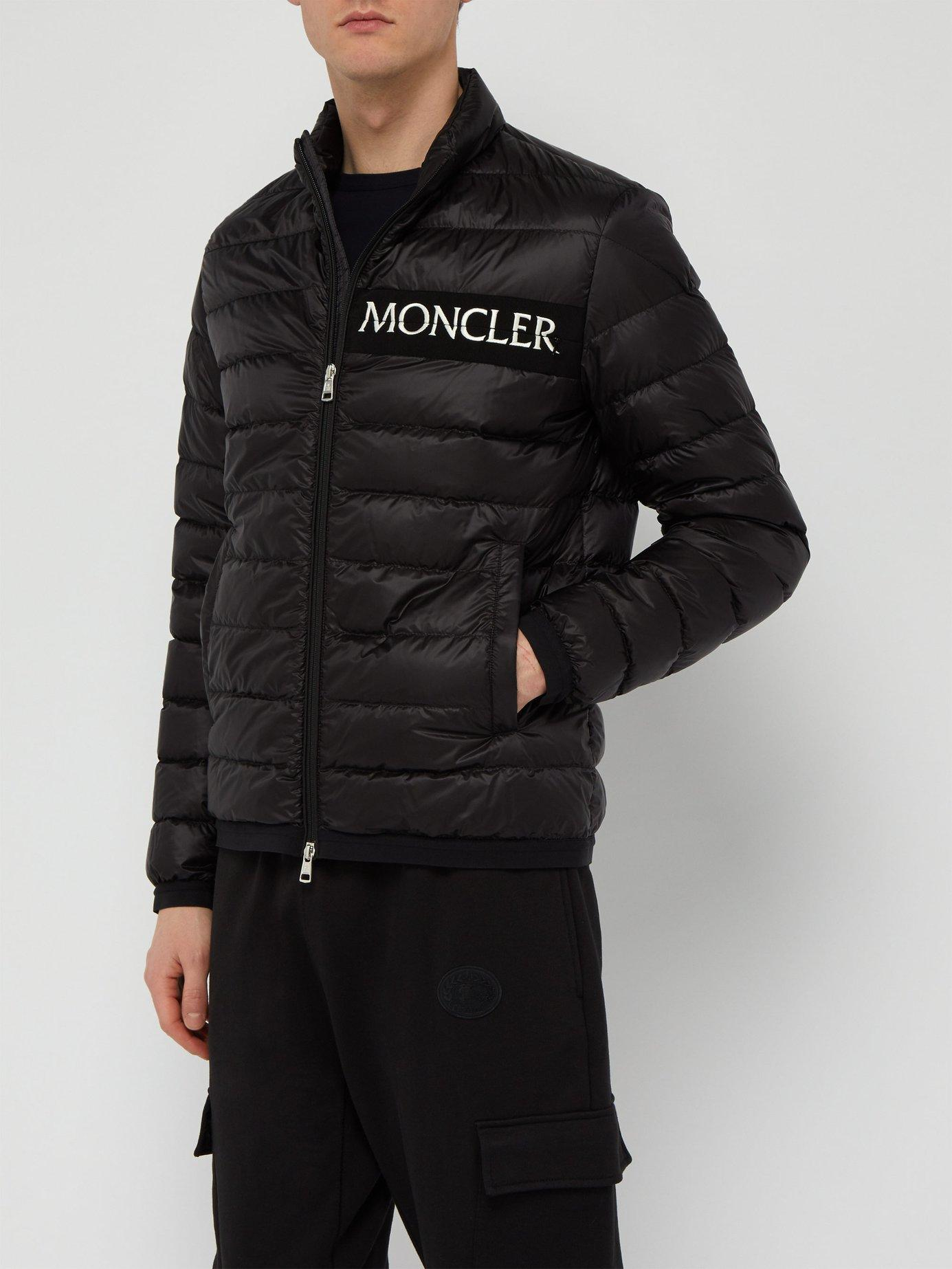 1c48a962ba4e Lyst - Moncler Neveu Logo Embroidered Down Filled Jacket in Black ...