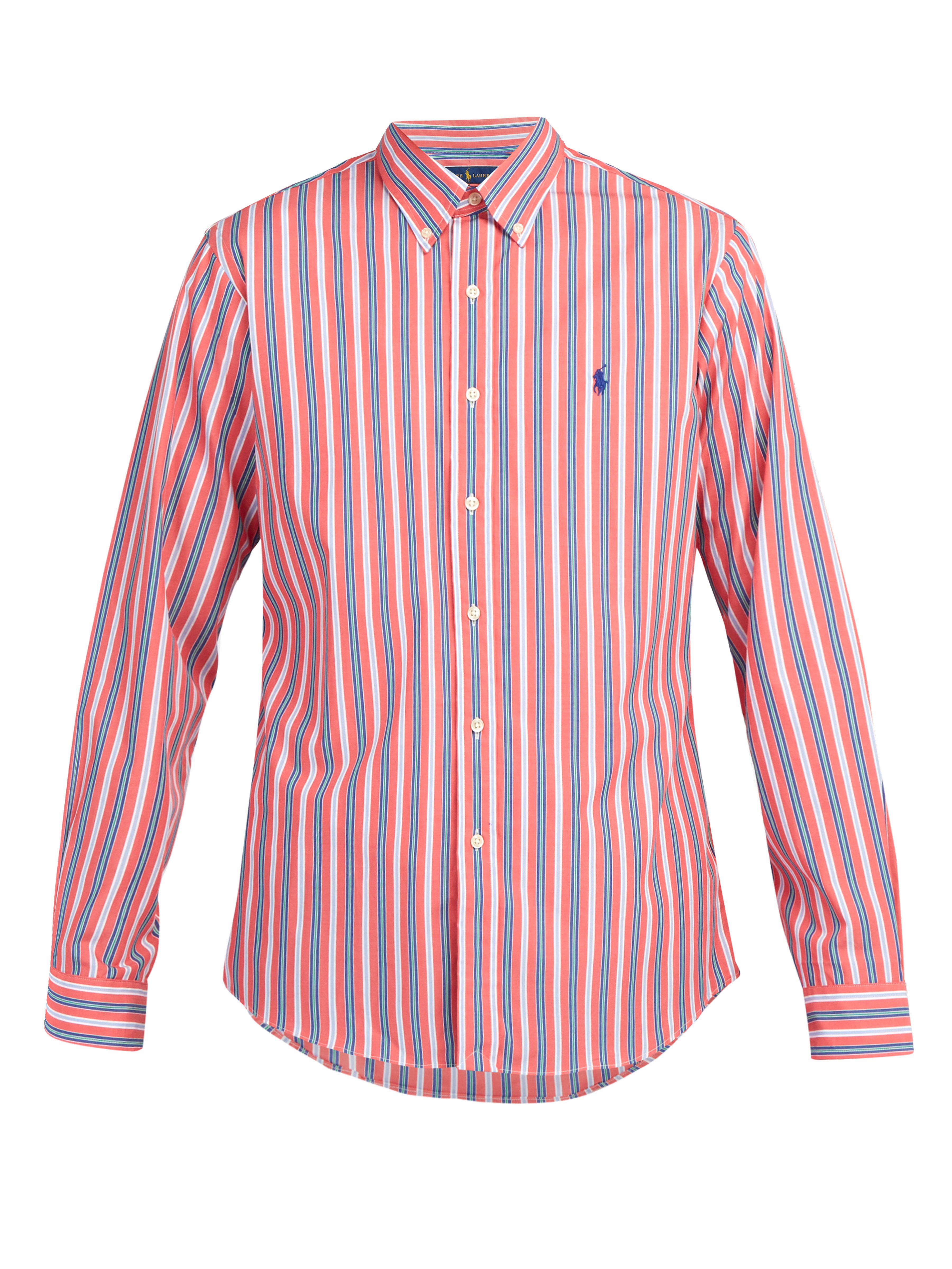 c1a52b389c74e Polo Ralph Lauren Slim Fit Striped Cotton Poplin Shirt in Red for ...