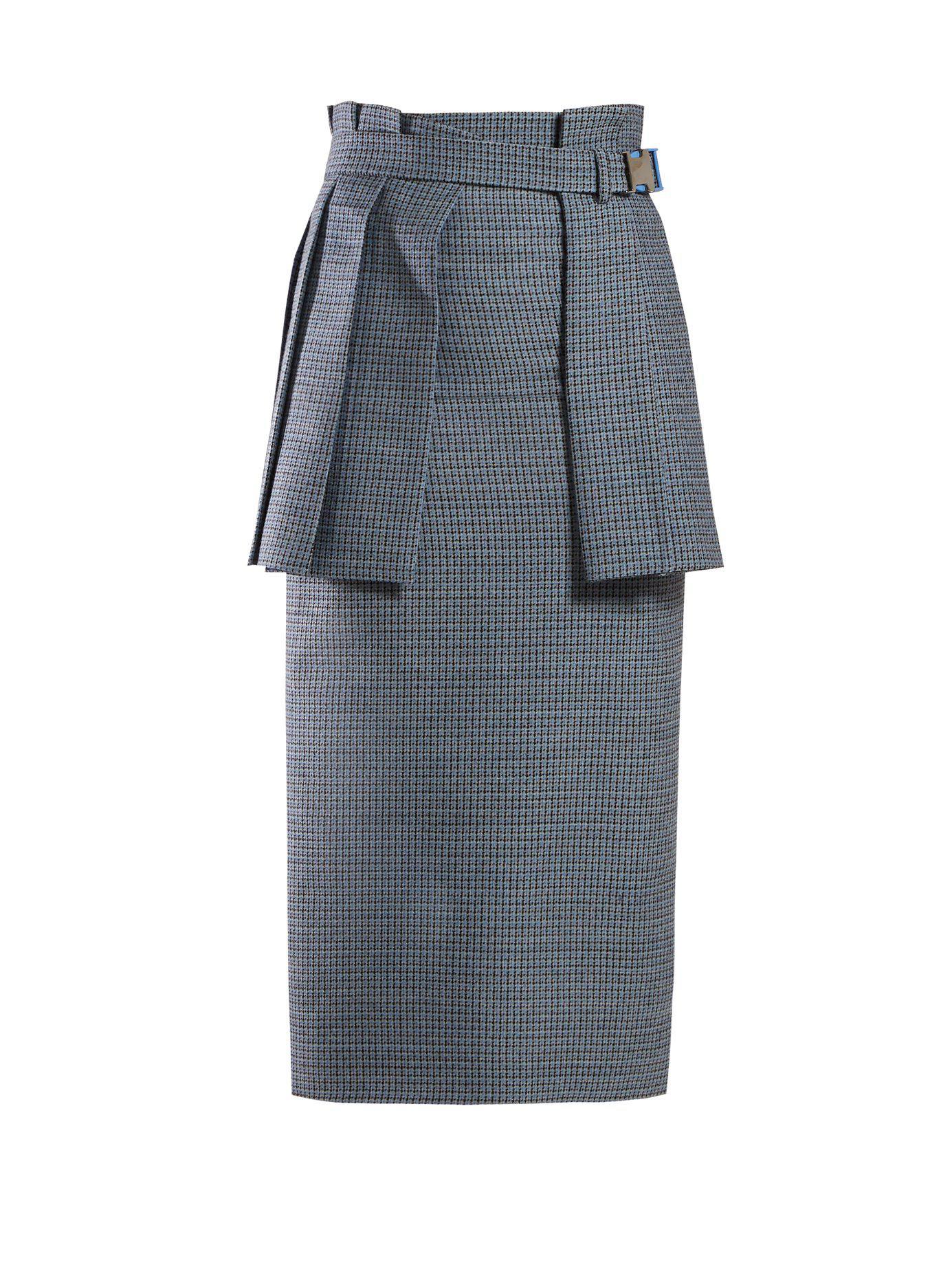 e550d928d9 Lyst - Fendi Pleated Panel Wool Blend Tweed Pencil Skirt in Blue