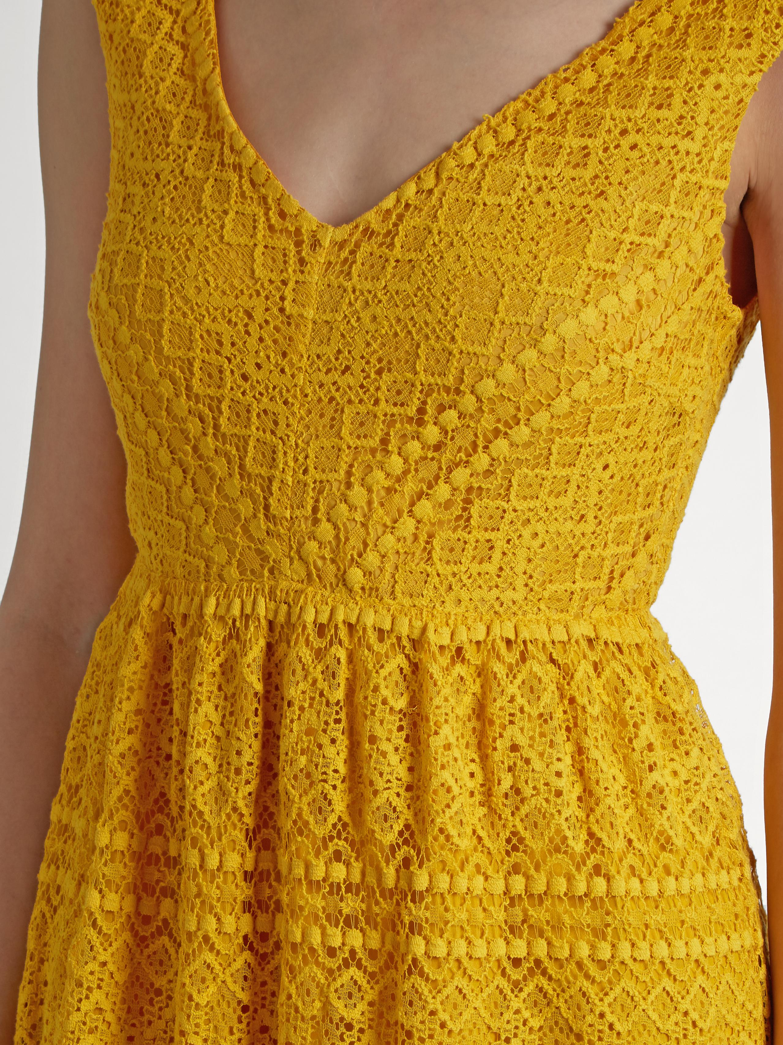 Yellow V-Neck Lace Dress