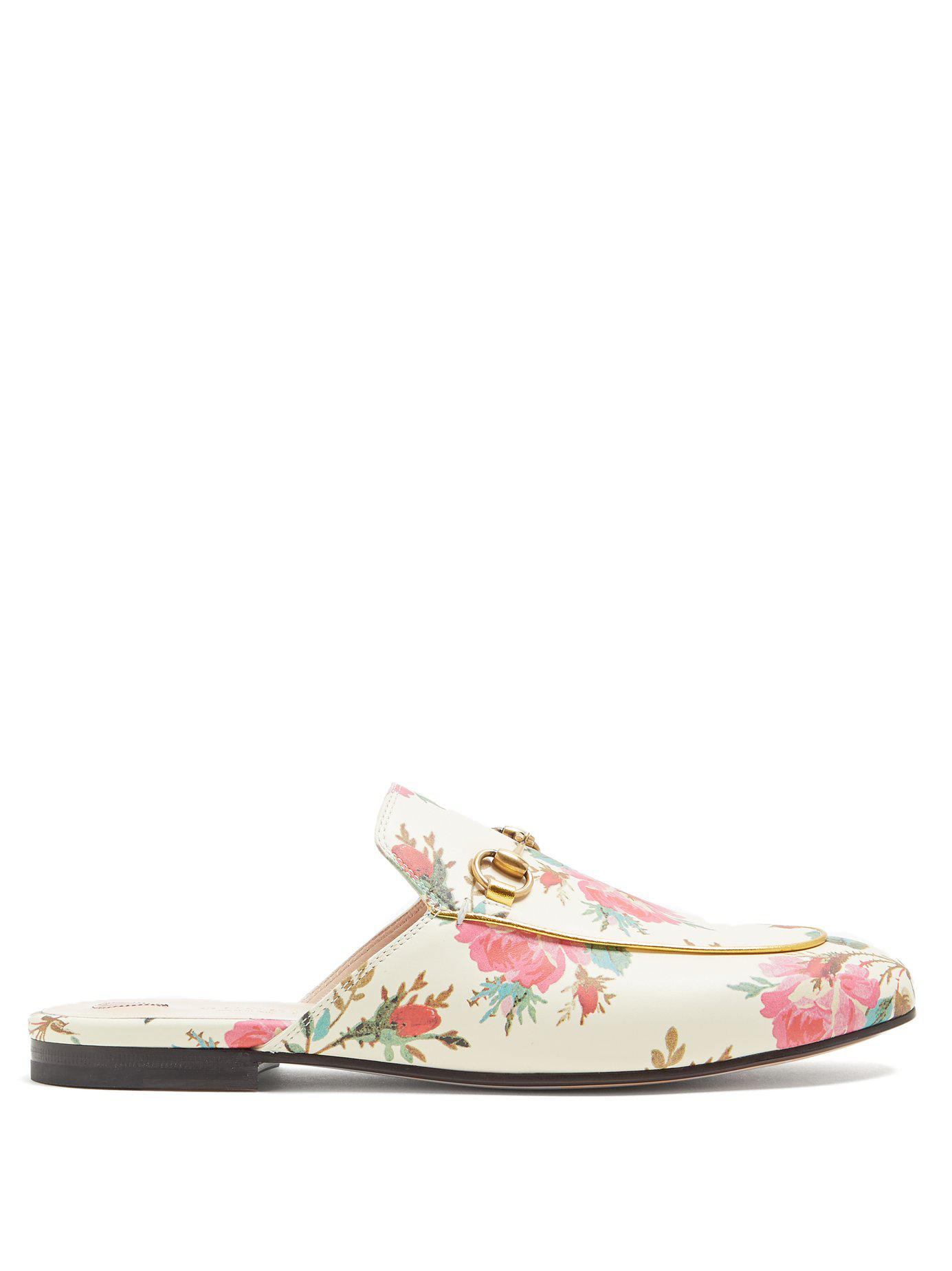 5343550d659 Lyst - Gucci Princetown Floral-print Backless Loafers
