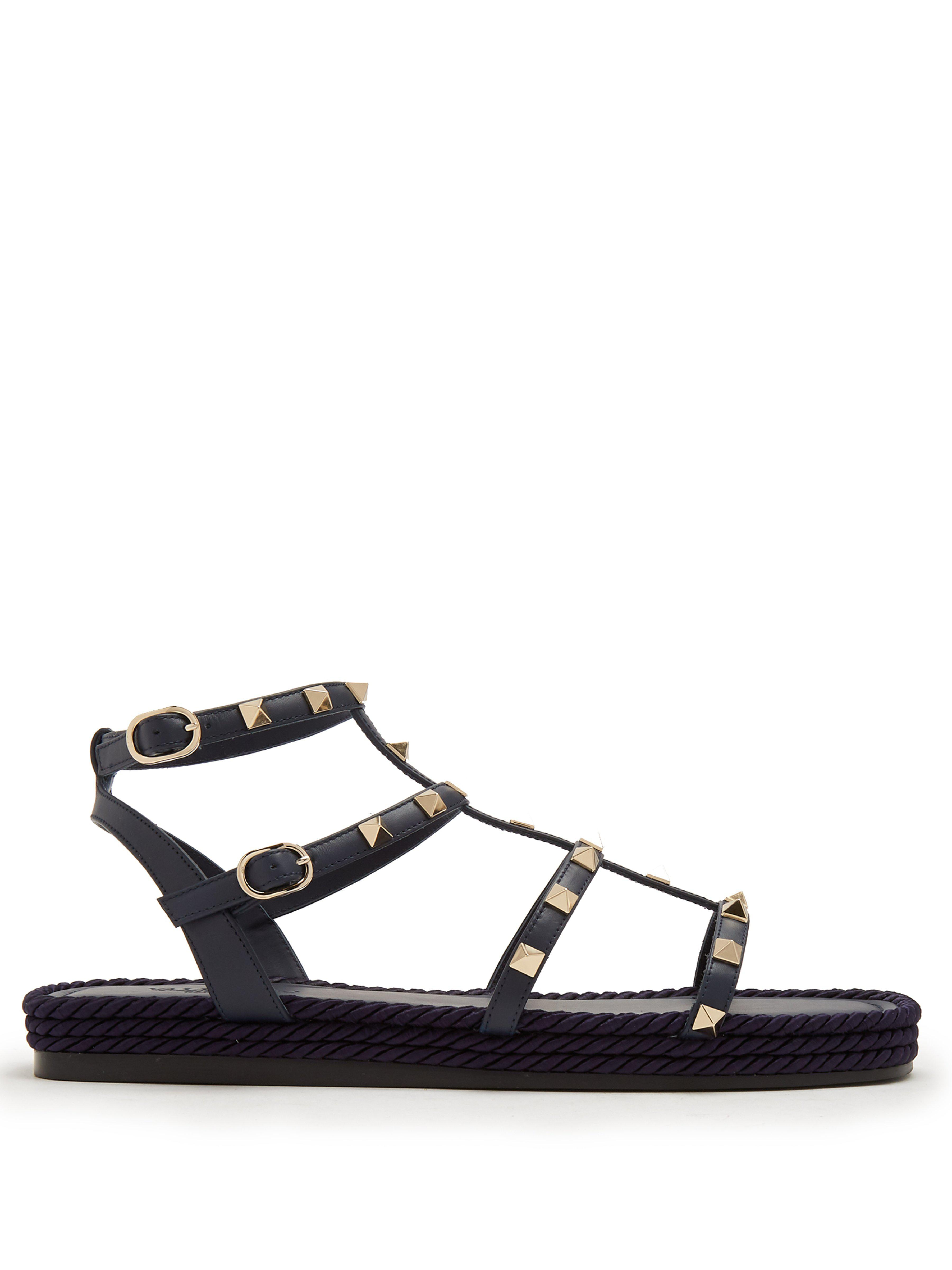 ae2bf5539718 Valentino Torchon Rockstud Leather Sandals in Blue - Lyst