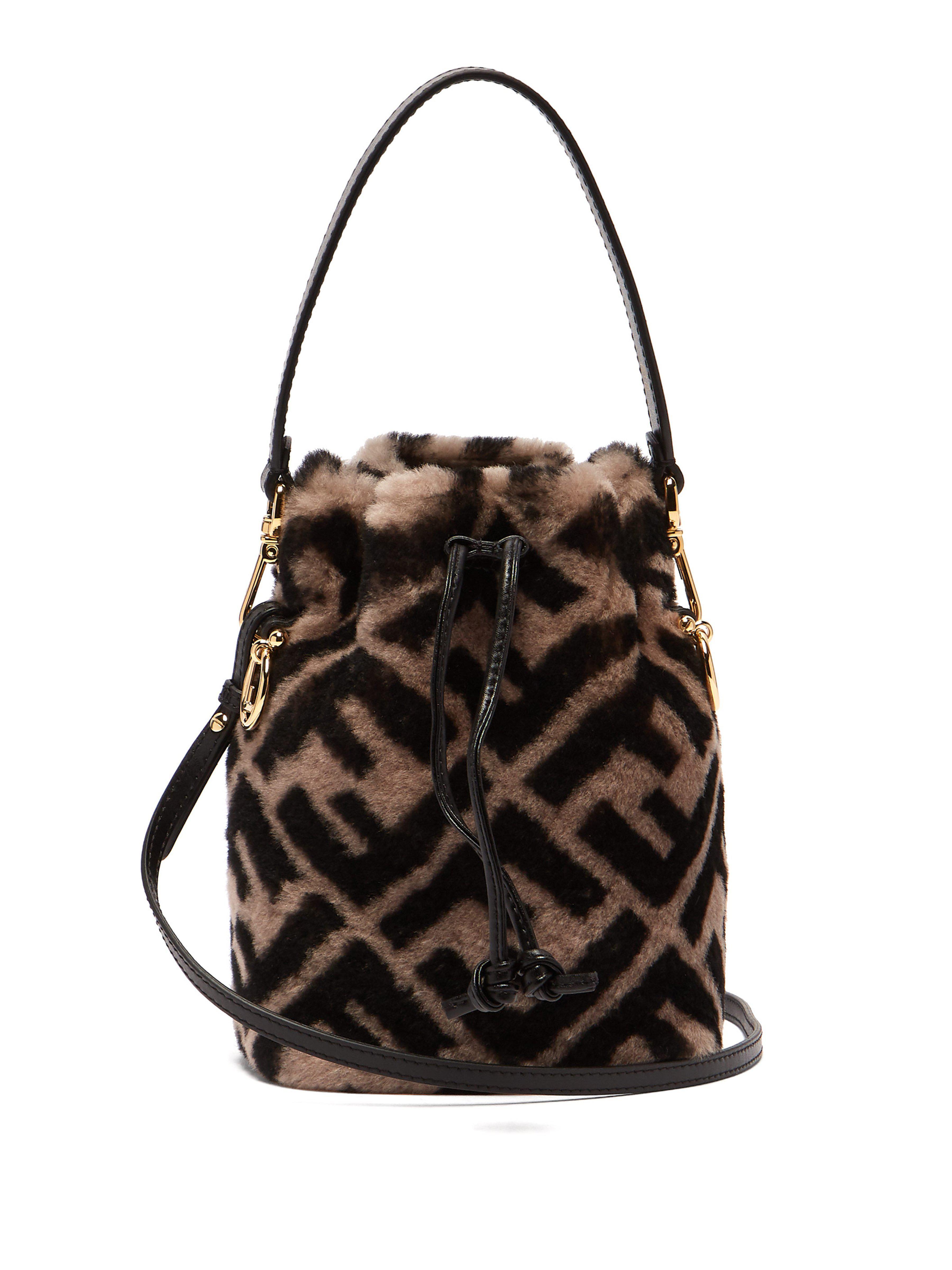 8f0c1bf5053 Fendi. Women s Mon Tresor Logo Print Shearling Bucket Bag