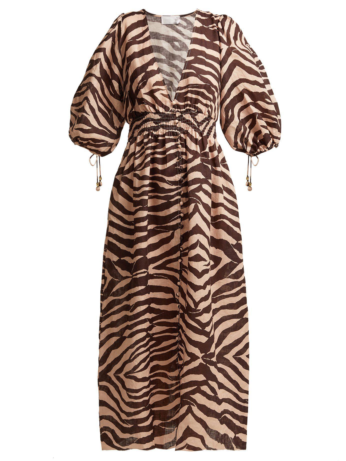 6c1c02d08d Zimmermann. Women s Zebra Print Linen Midi Dress