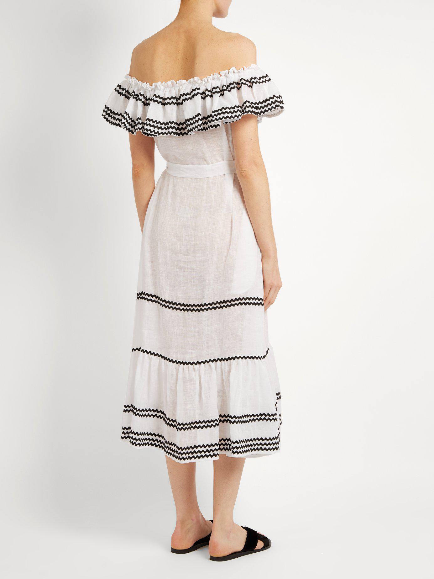 7a9e3fe636 Lisa Marie Fernandez - White Mira Ruffle Trimmed Button Through Linen Dress  - Lyst. View fullscreen