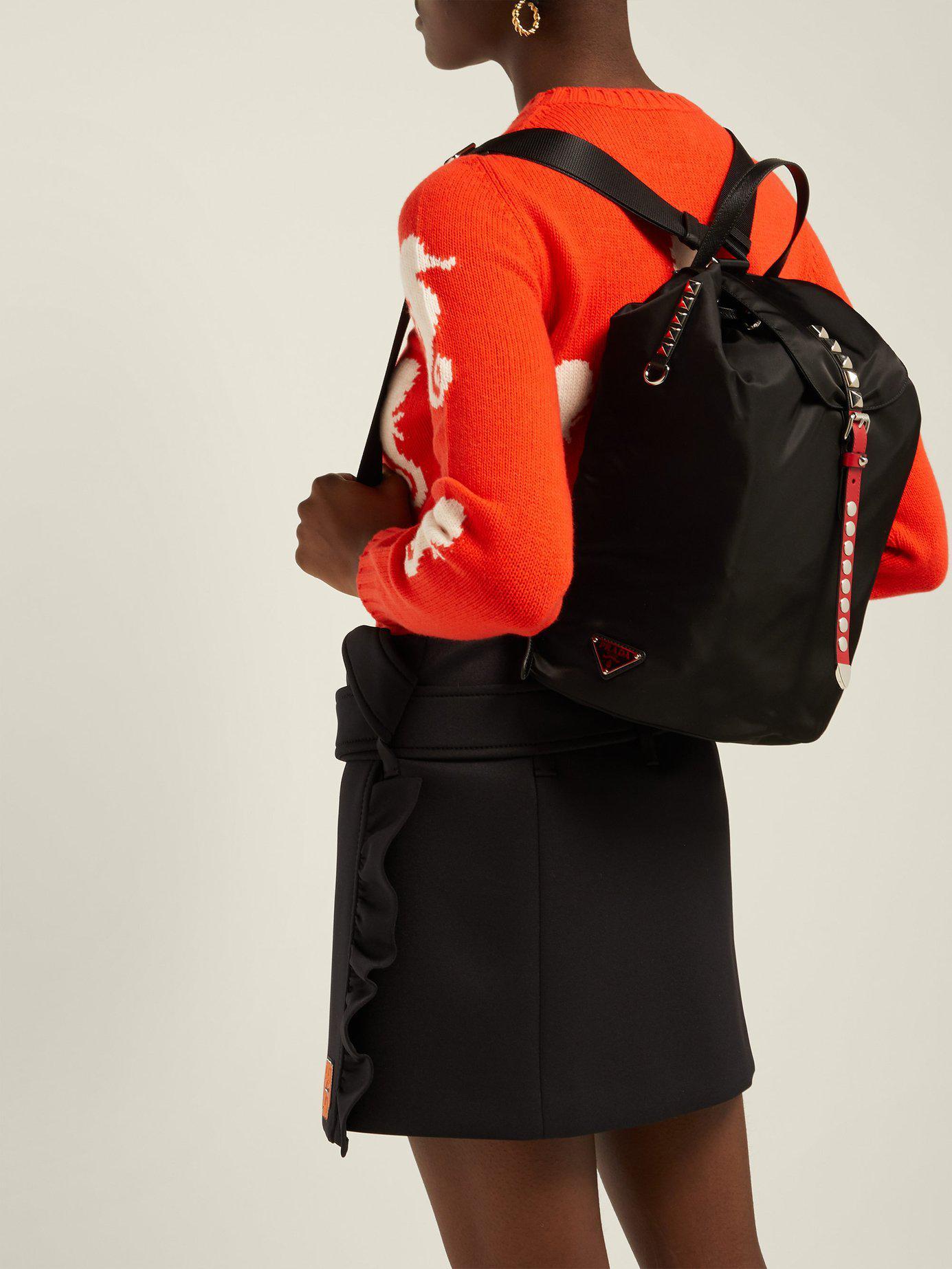 5f0fe1b38926 Prada - Black New Vela Studded Nylon Backpack - Lyst. View fullscreen