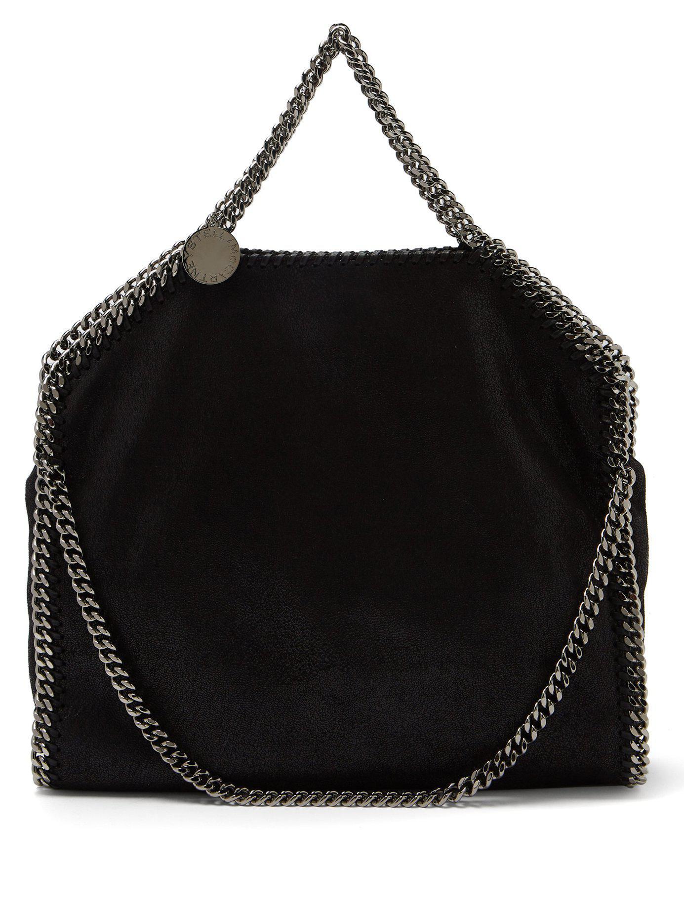 Lyst - Stella McCartney Falabella Faux Suede Shoulder Bag in Black a387b0500d203