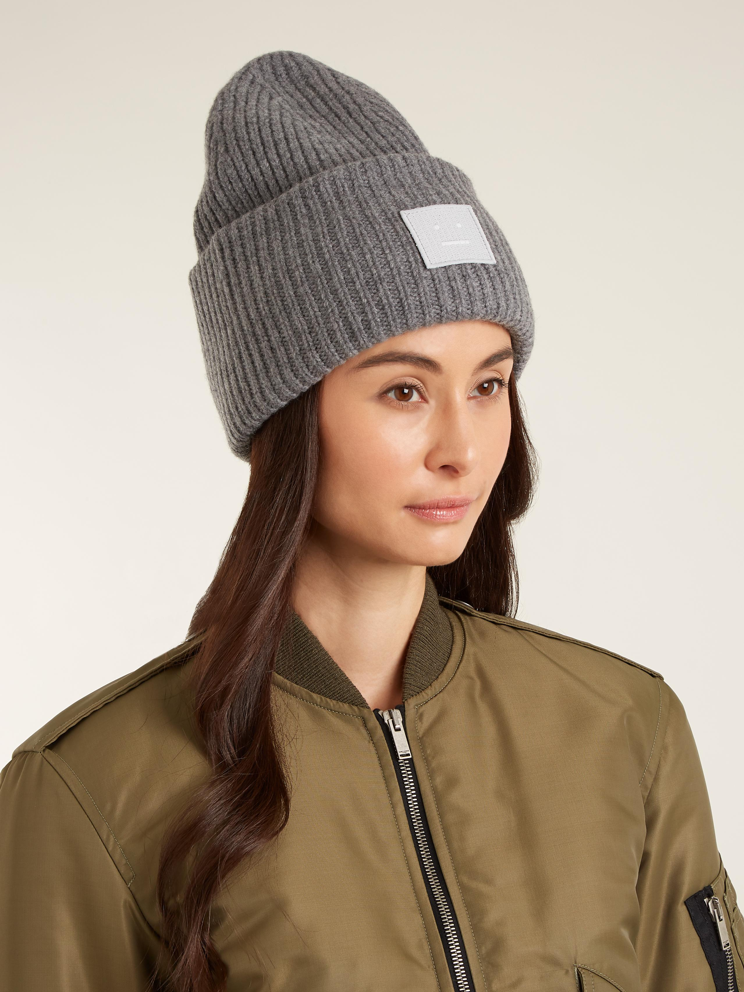 Lyst - Acne Studios Pansy S Face Ribbed-knit Beanie Hat in Gray 35d371ba001b