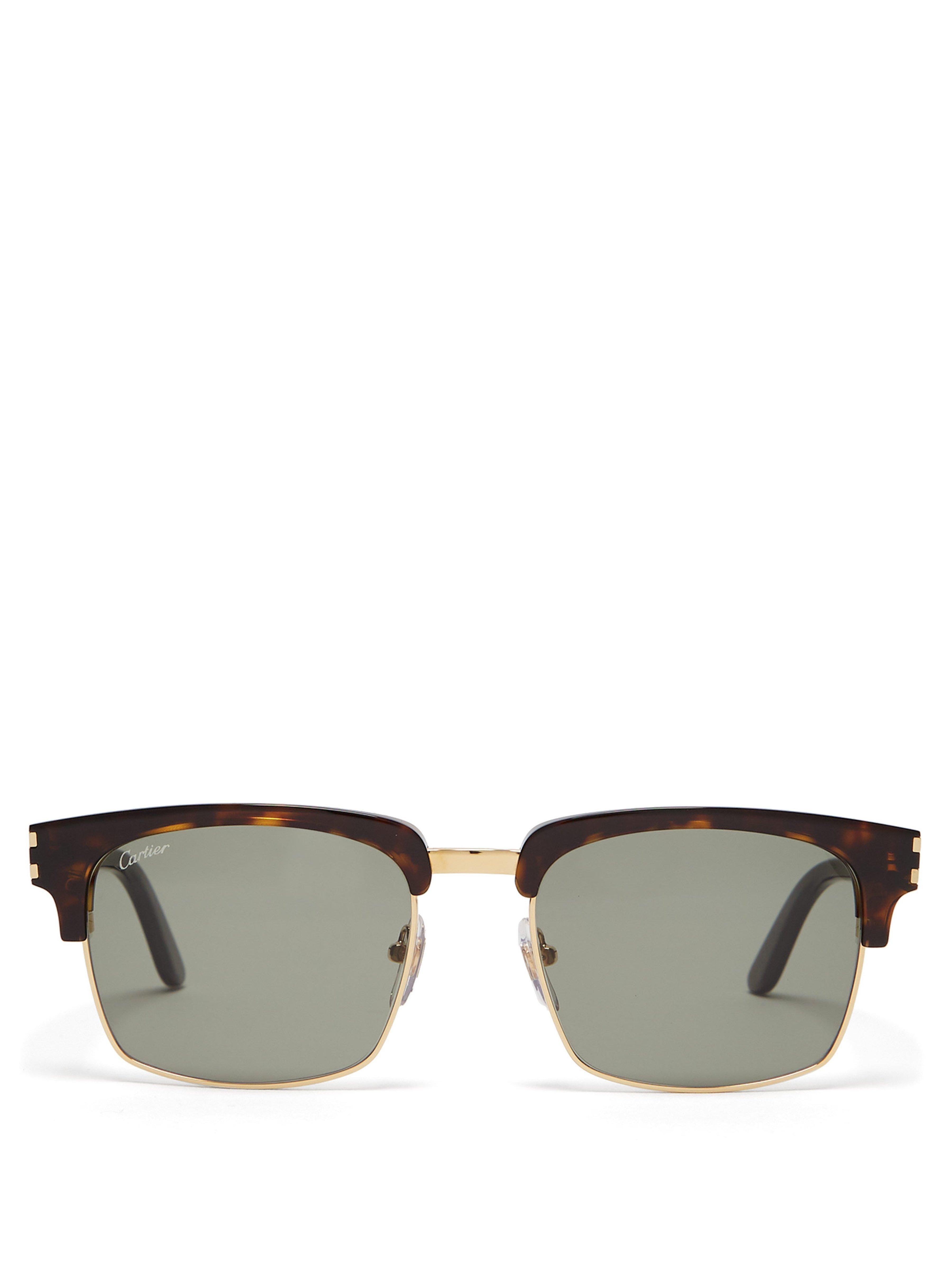 454ad48c48 Cartier - Brown C Décor Square Metal Sunglasses for Men - Lyst. View  fullscreen