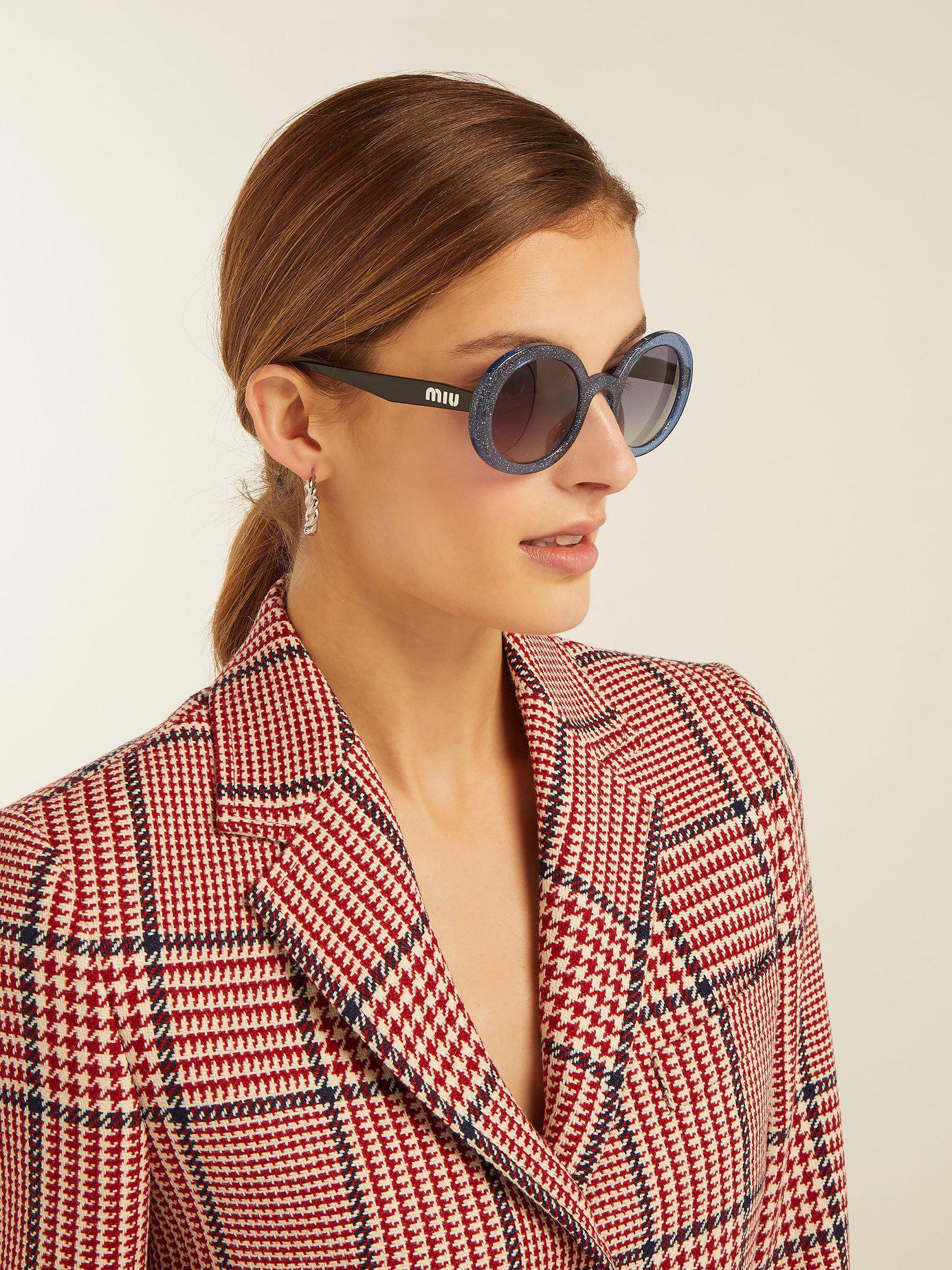 212b745f4667 Miu Miu Oversized Glitter Acetate Round Sunglasses in Blue - Lyst