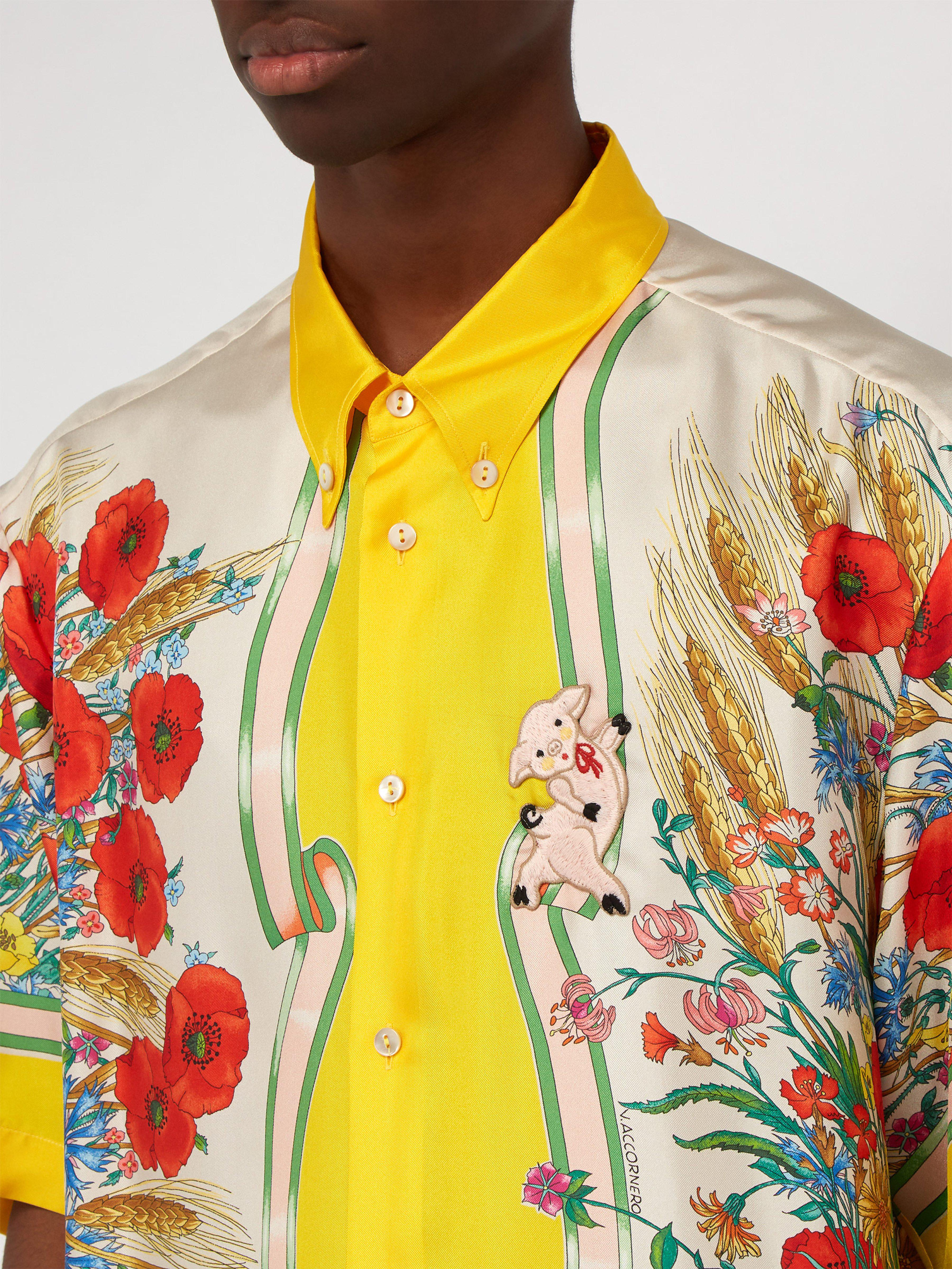 c6ce142f05118e Gucci - Yellow Floral Print Silk Twill Shirt for Men - Lyst. View fullscreen