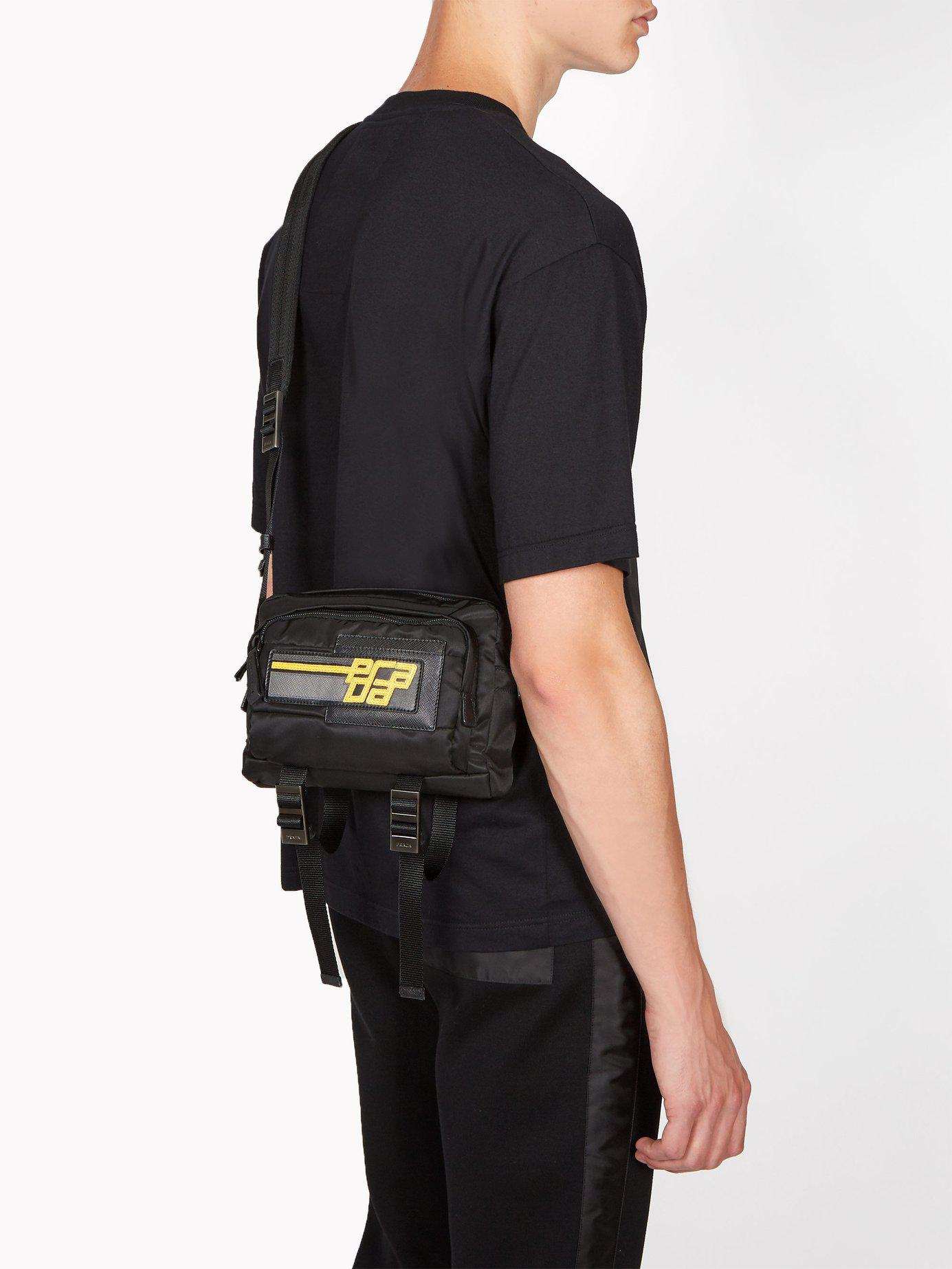 e5523bcbc1 Prada Logo Patch Nylon Cross Body Bag in Black for Men - Lyst