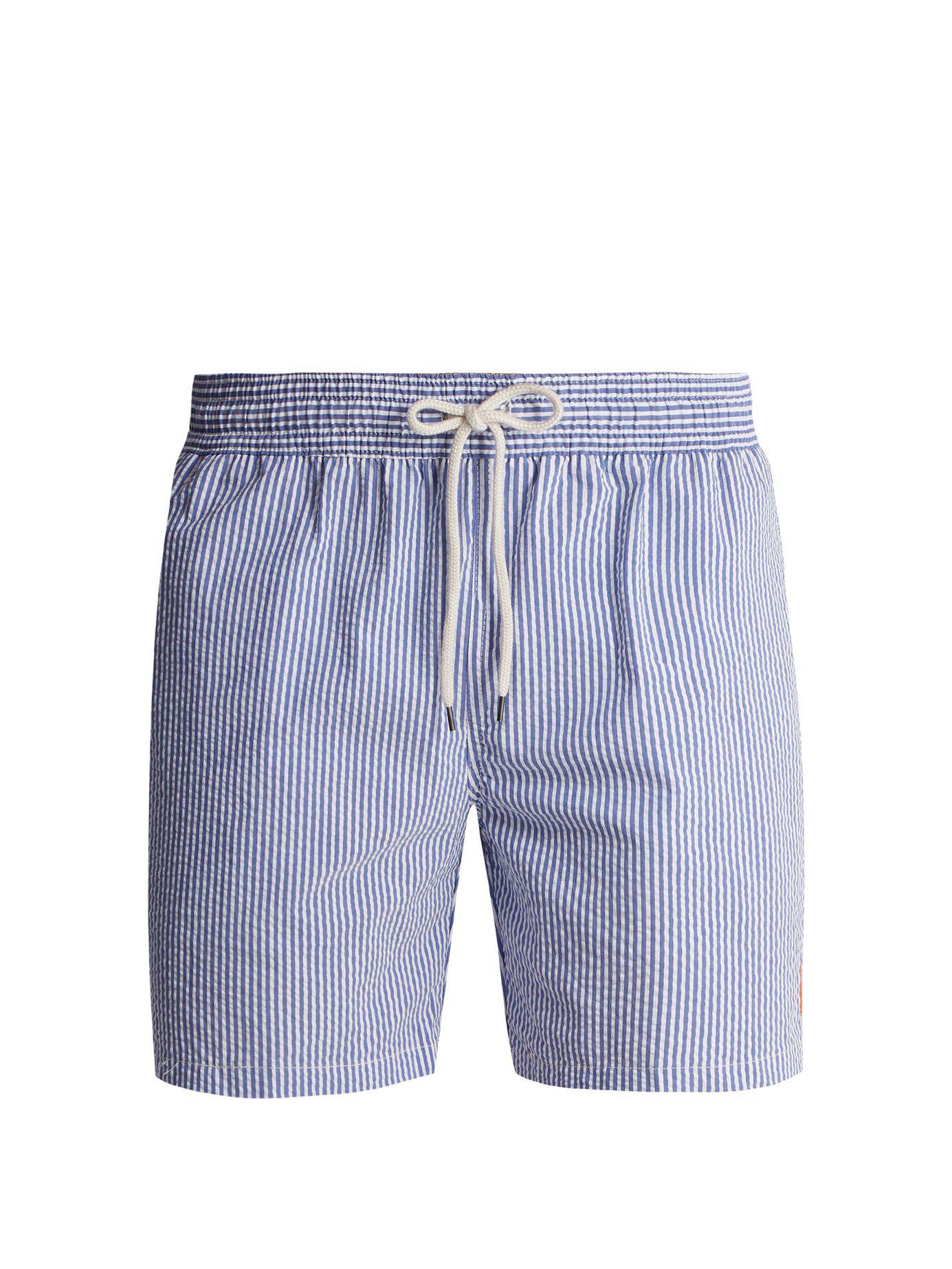 95c3daeff1 Polo Ralph Lauren Striped Cotton-blend Seersucker Swim Shorts in ...