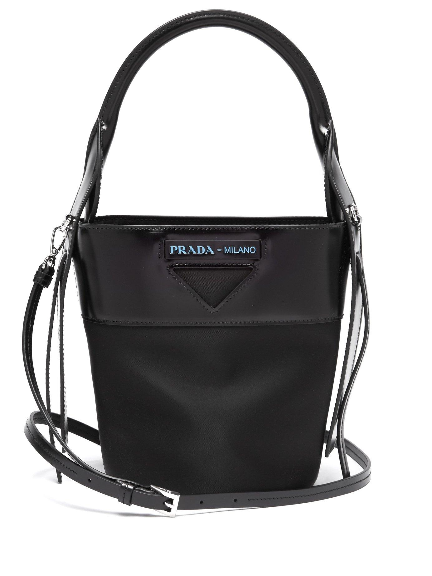 0280c43b4712 Lyst - Prada Nylon And Leather Bucket Bag in Black - Save 24%