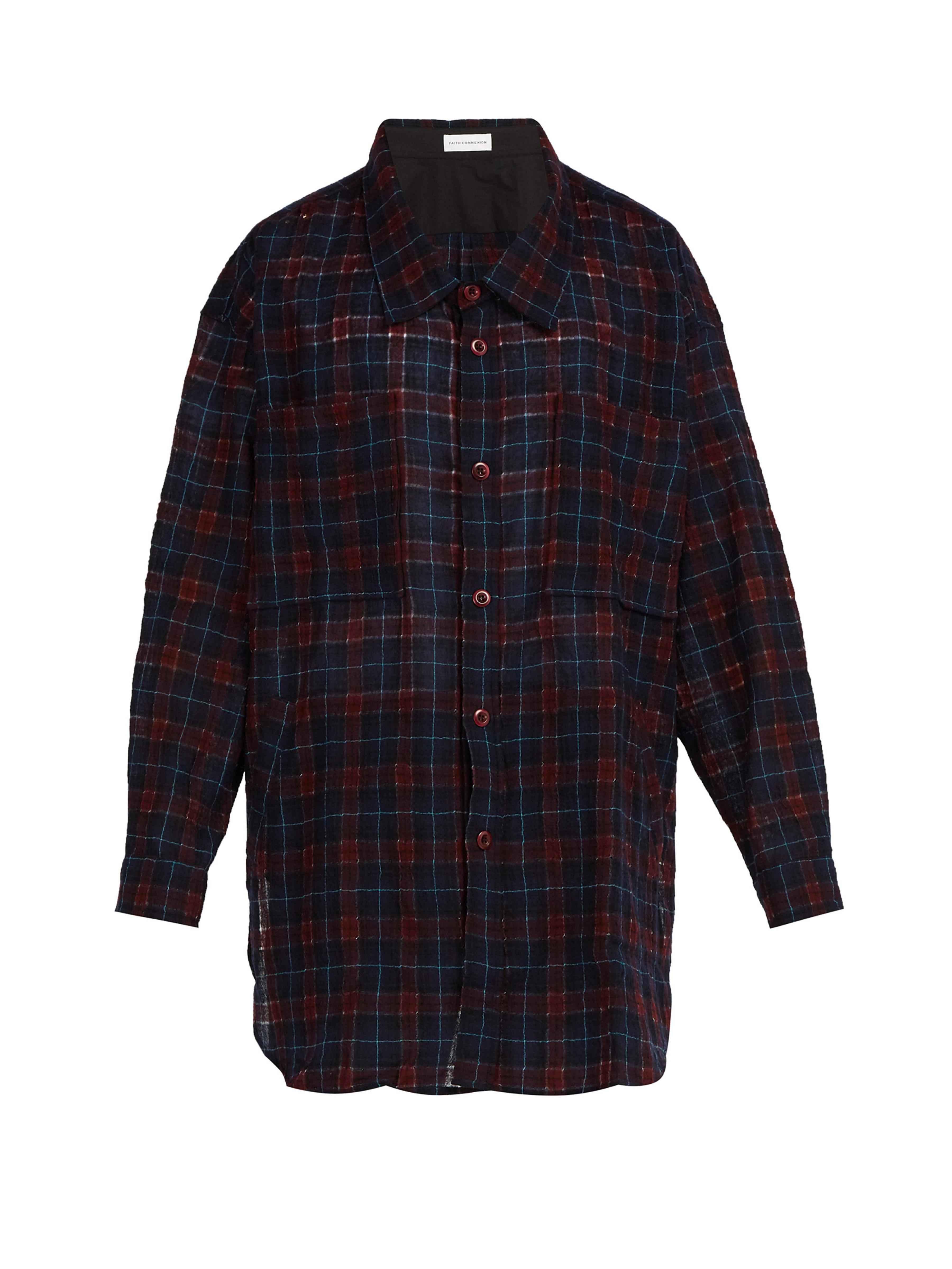 883ff9802712 Faith Connexion Oversized Wool Blend Check Shirt in Blue for Men - Lyst