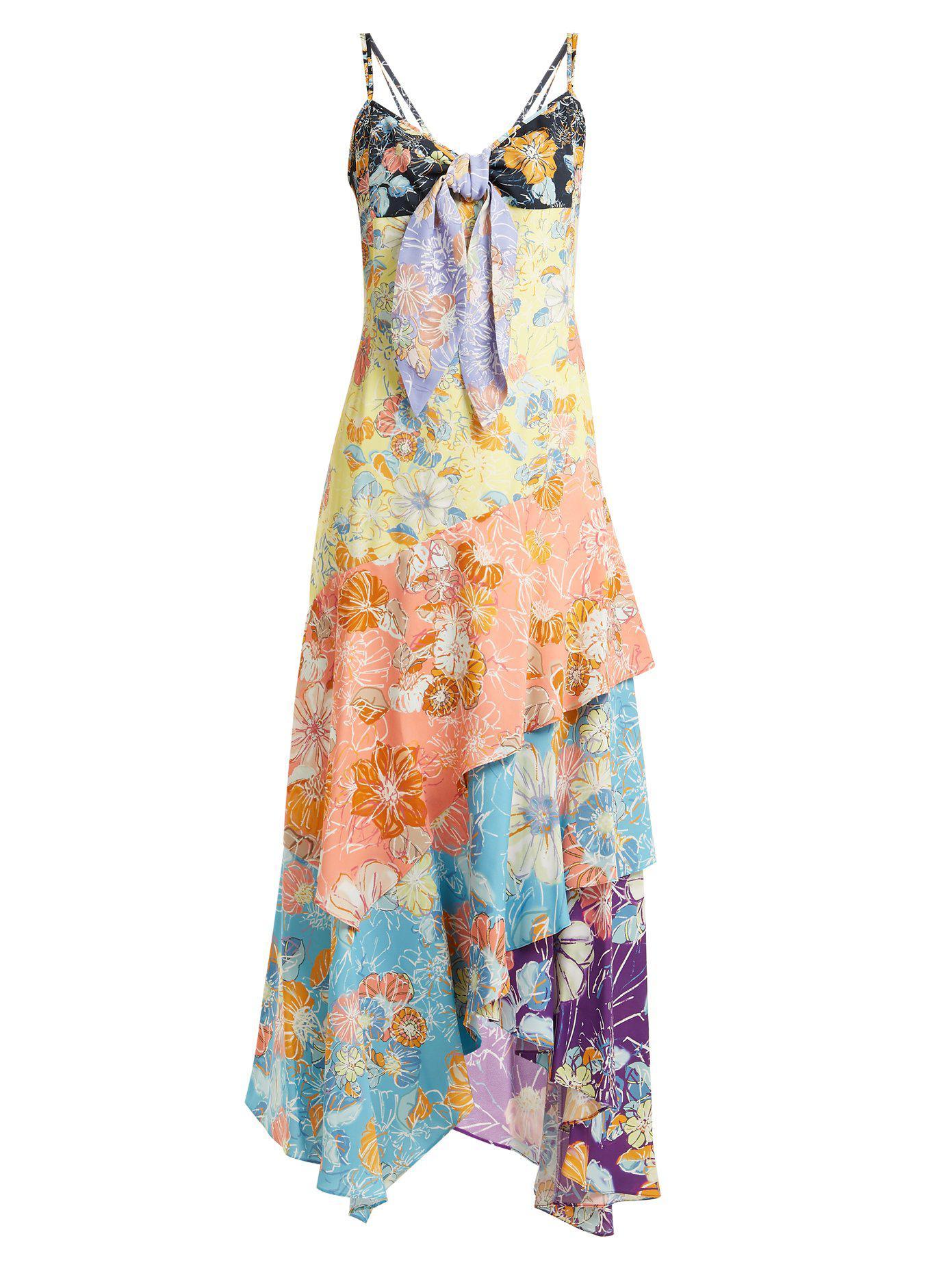 Peter Pilotto. Women's Floral Print Multi-panel Asymmetric Dress