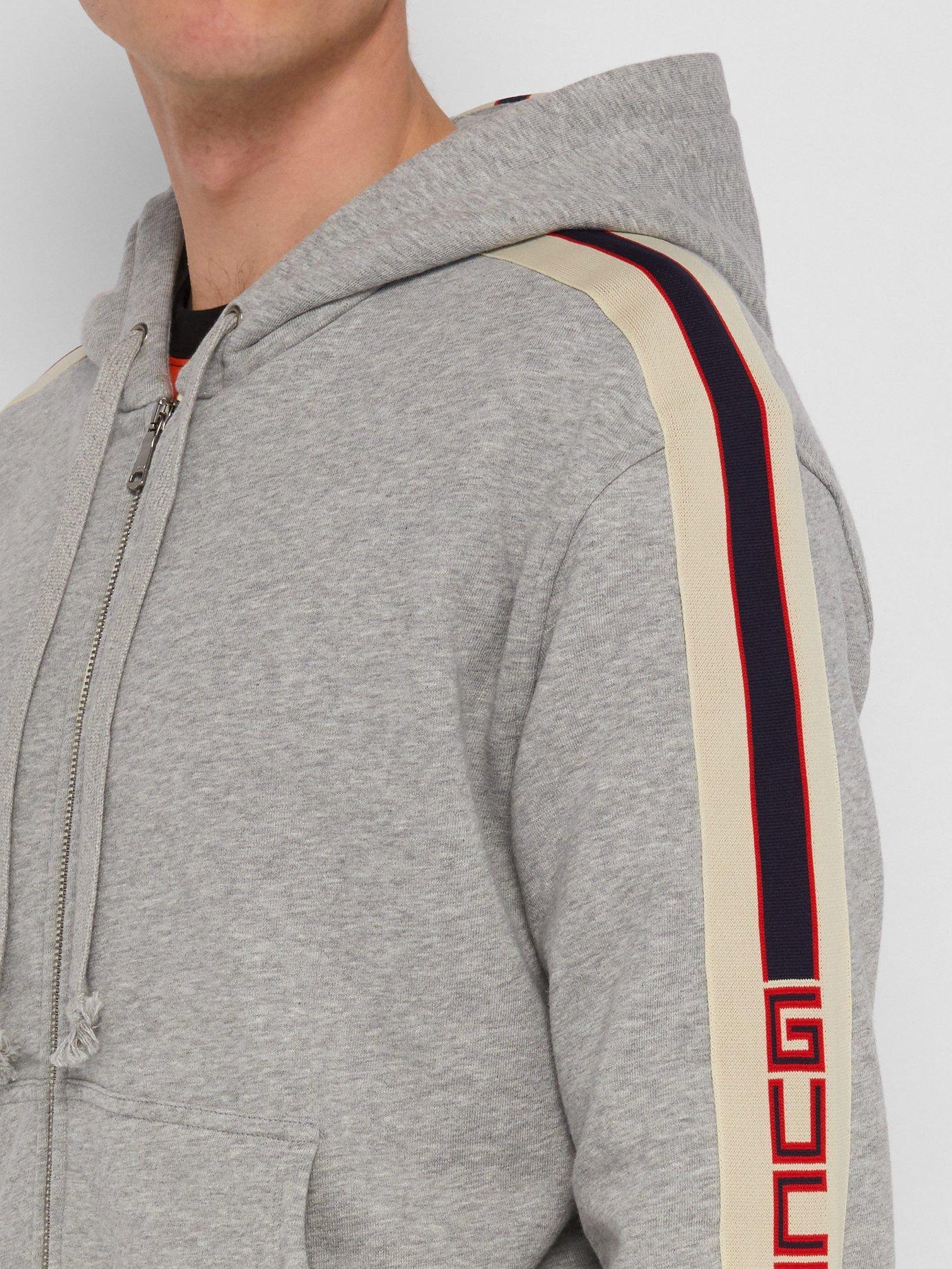 296ec51fdc1 Lyst - Gucci Logo Tape Zip Through Hooded Cotton Sweatshirt in Gray ...