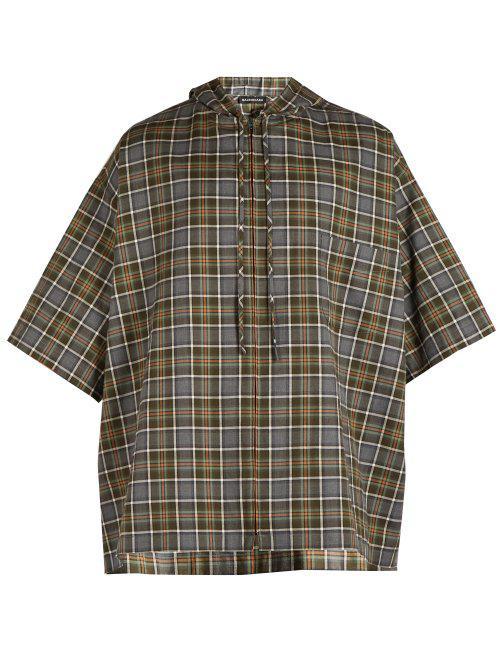 80082e7e Balenciaga Plaid Cotton Flannel Hooded Shirt in Gray for Men - Lyst