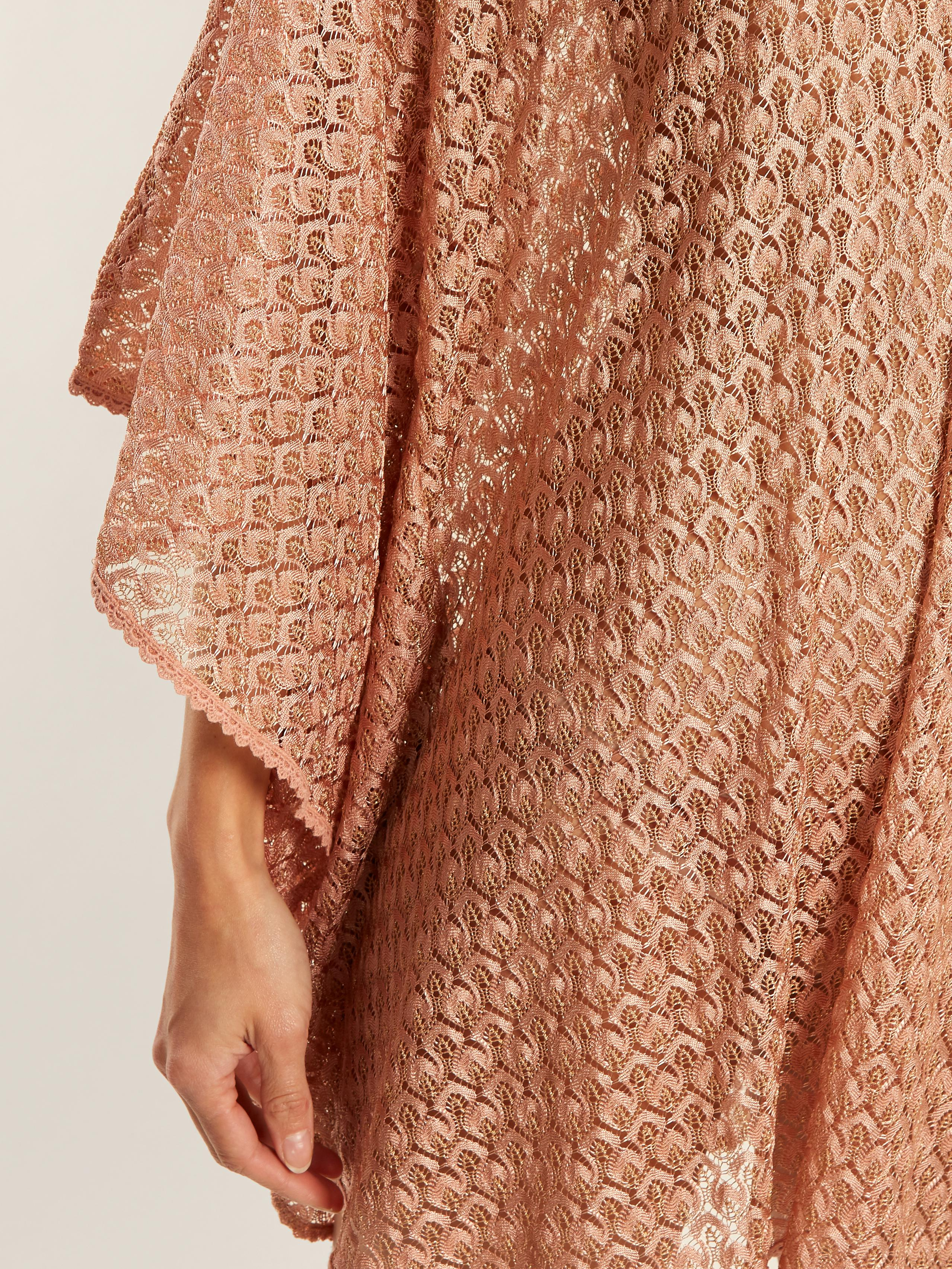Madison waterfall-sleeve crochet-knit kaftan Melissa Odabash RaM0b5KYh