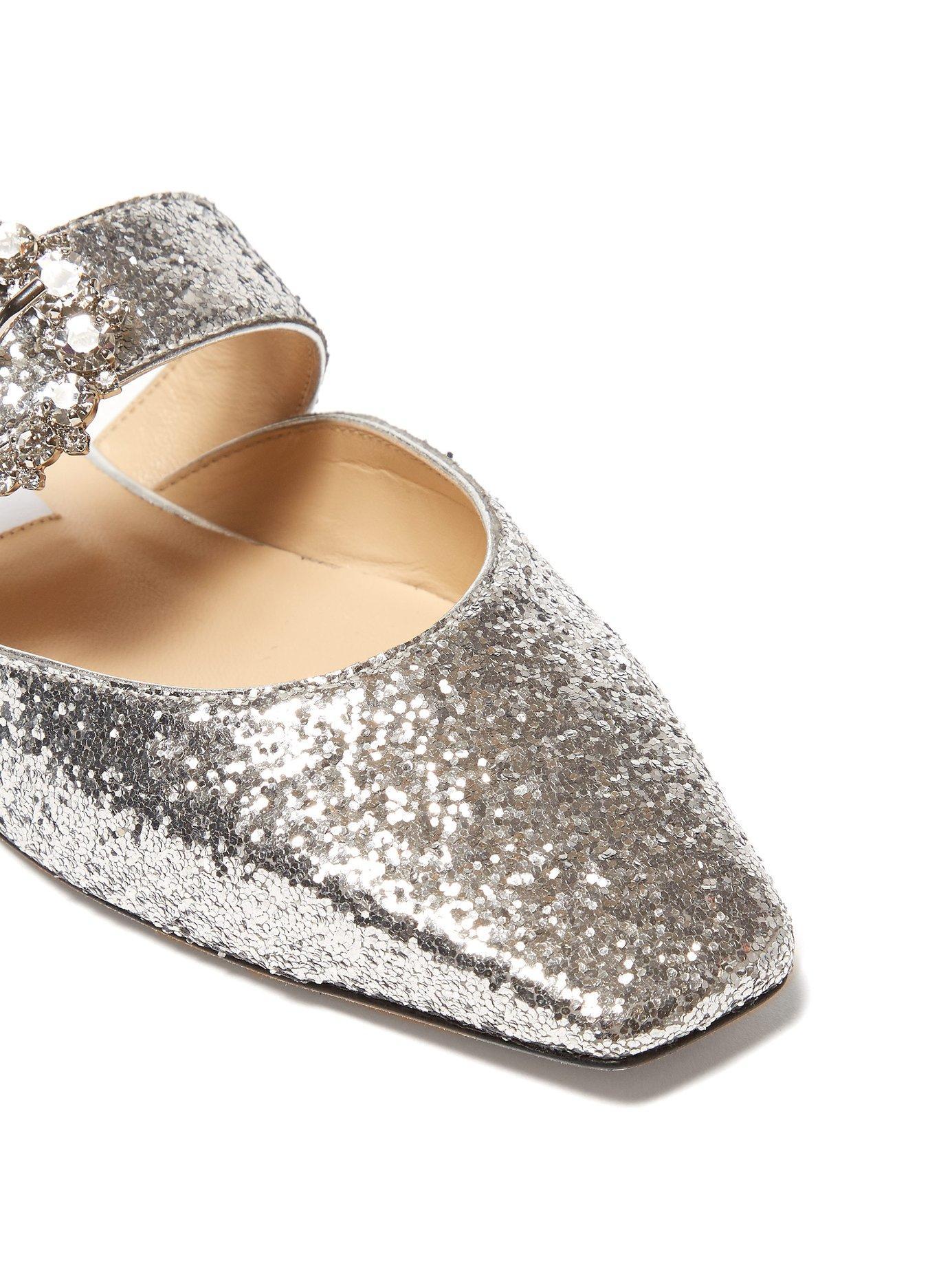5ffacb7e56ff Jimmy Choo. Women s Metallic Gee Crystal Buckle Glittered Backless Flats