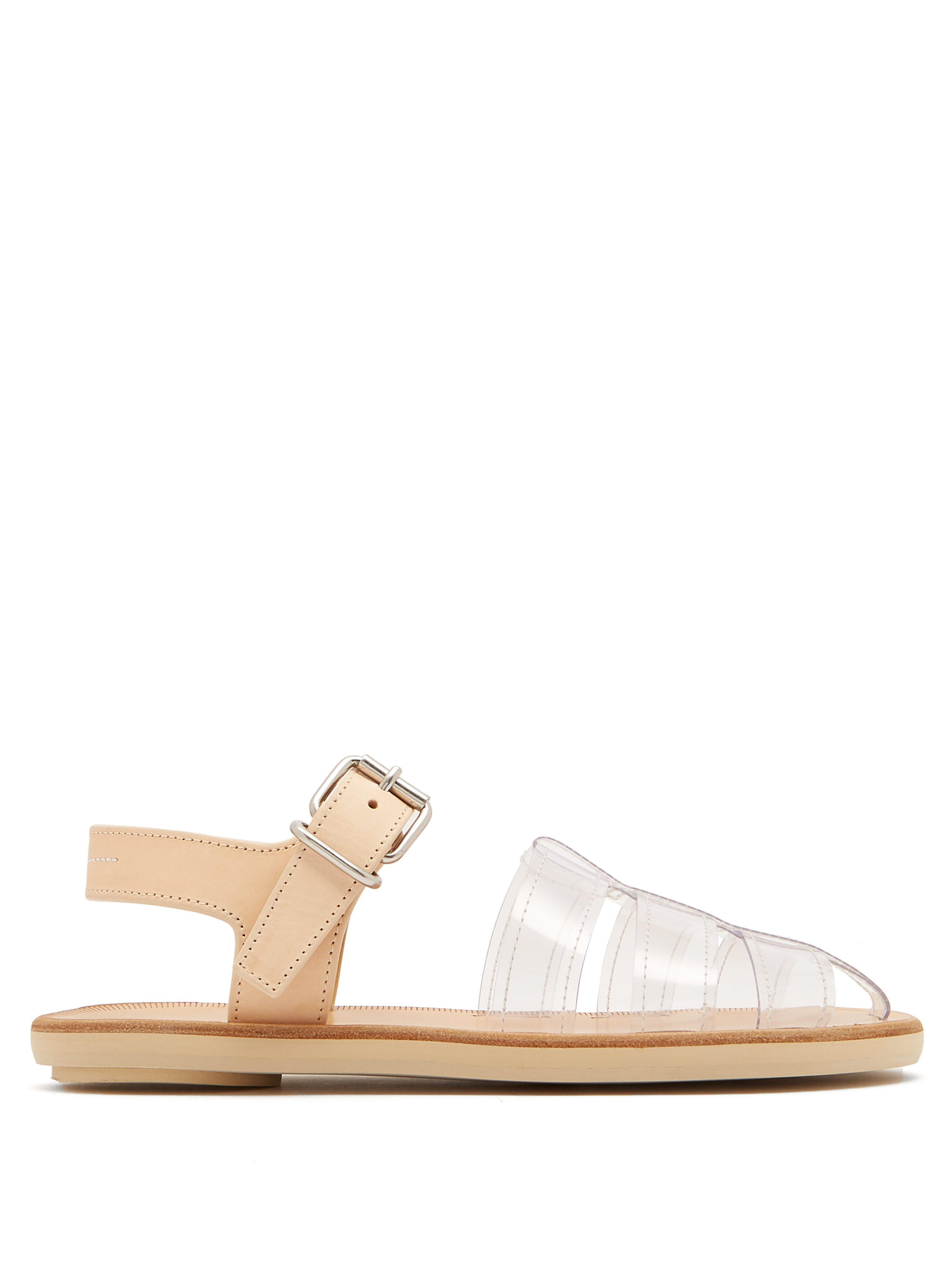 d60c7fc44786 MM6 by Maison Martin Margiela Perspex And Leather Cage Sandals - Lyst