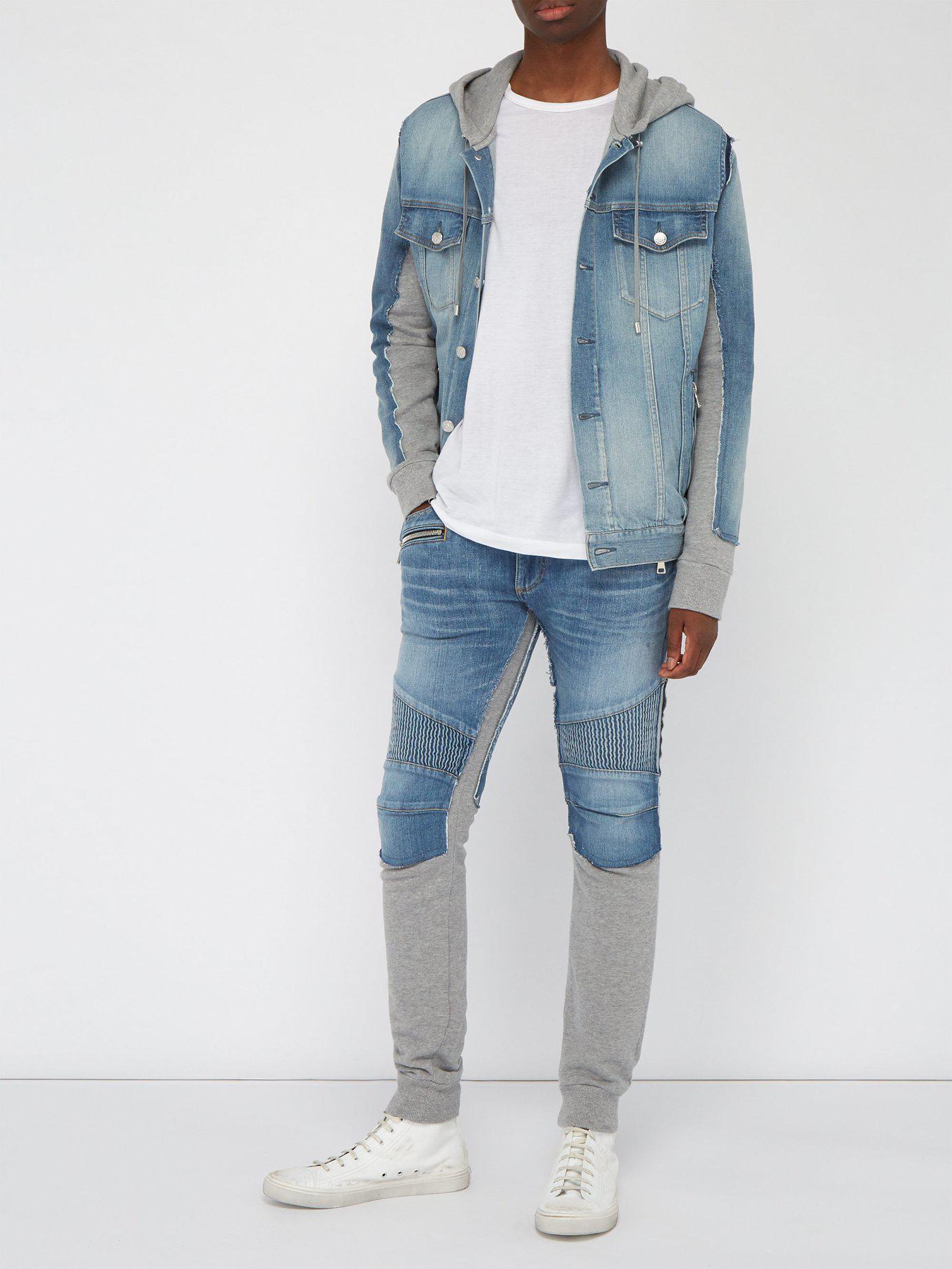 0c56bc23 Lyst - Balmain Slim Fit Denim And Jersey Biker Sweat Pants in Blue for Men
