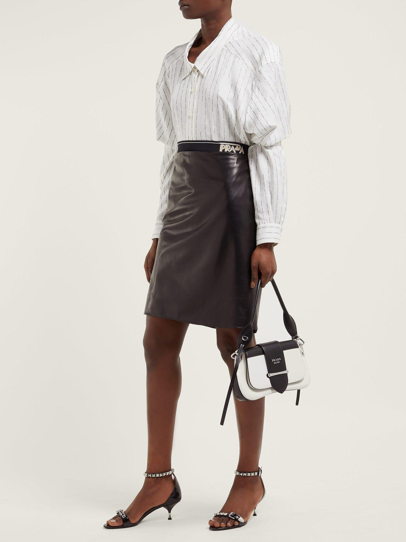 08a8a0112a Lyst - Prada Logo Intarsia Leather Pencil Skirt in Black