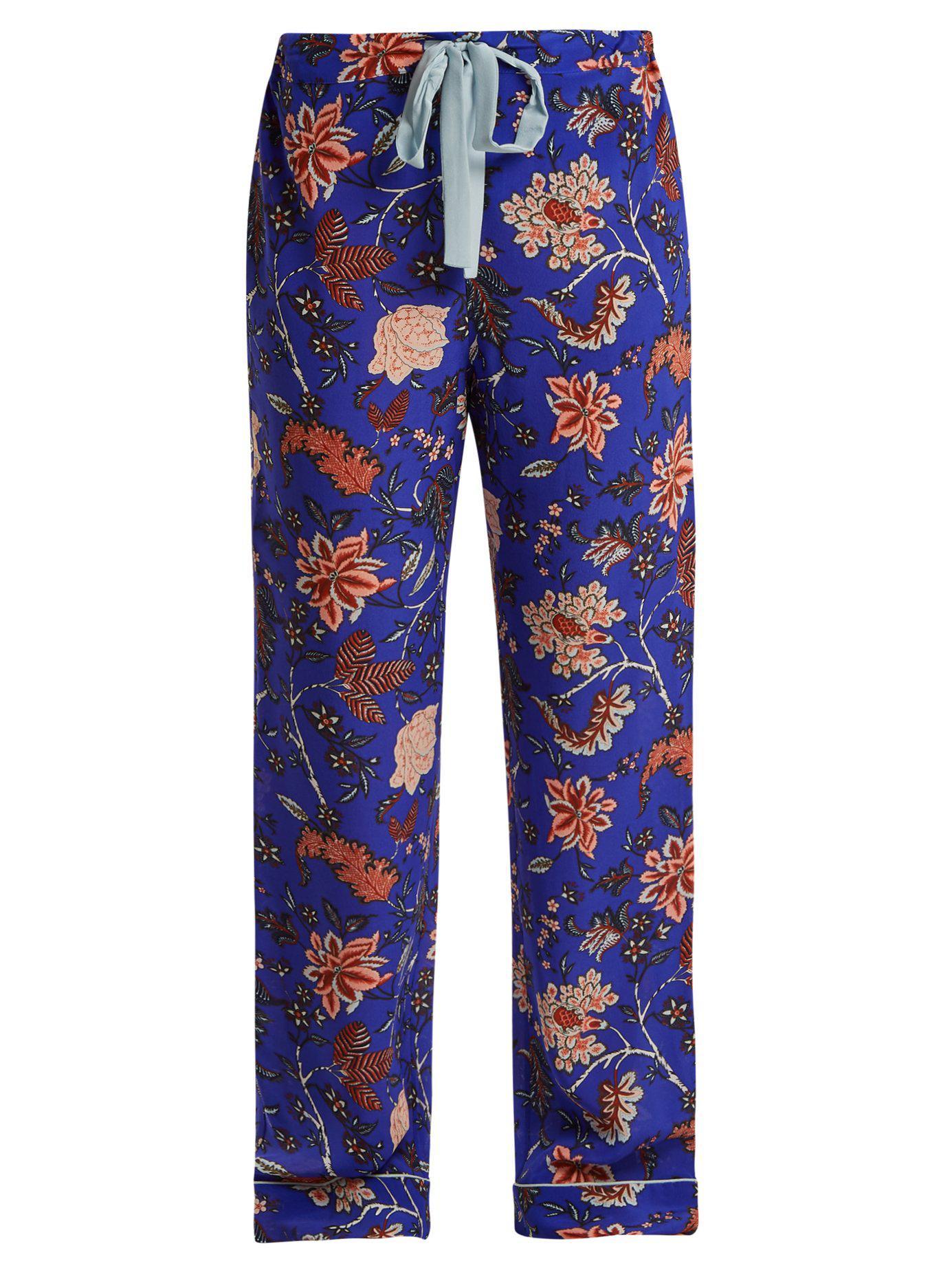 Diane von Furstenberg. Women s Blue Floral-print Silk Crepe De Chine Pyjama  Trousers 3f68d0aac