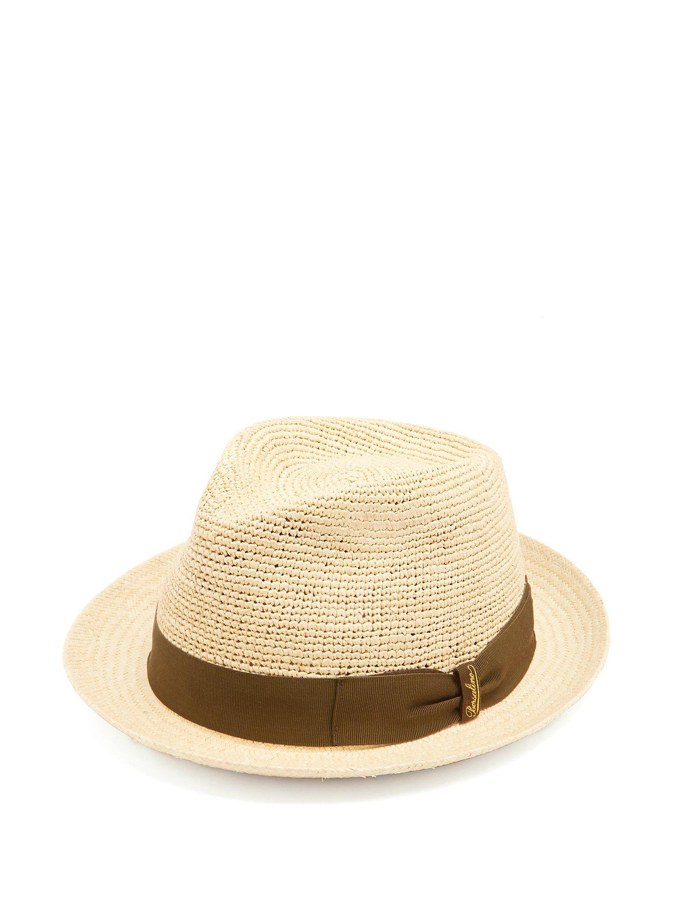 cef5a506a1a Lyst - Borsalino Woven And Crochet Straw Panama Hat in Natural for Men